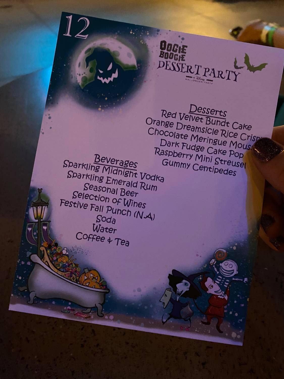 Oogie Boogie dessert party menu