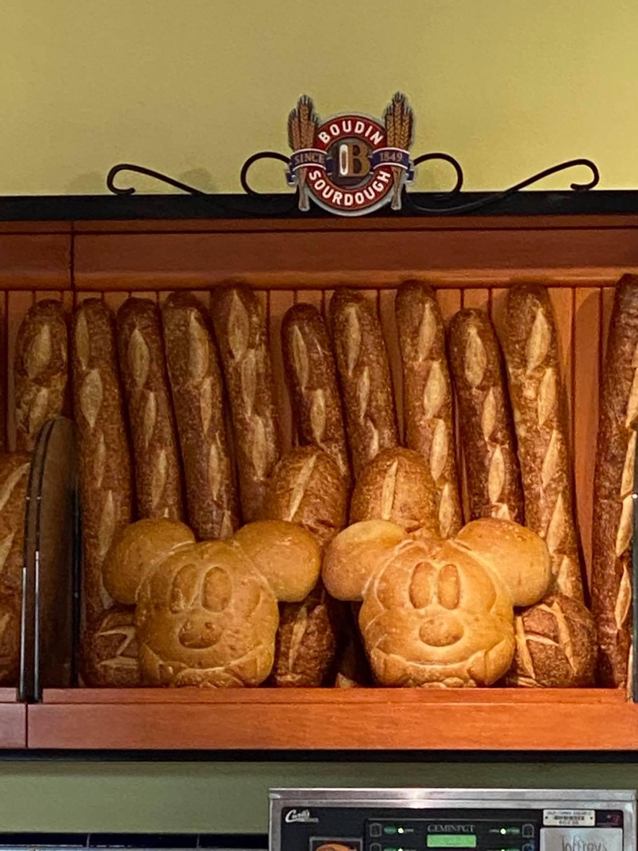 Mickey bat sourdough bread on a shelf