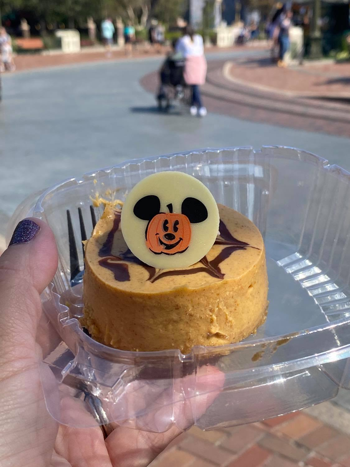 pumpkin cheesecake with a white chocolate Mickey on top