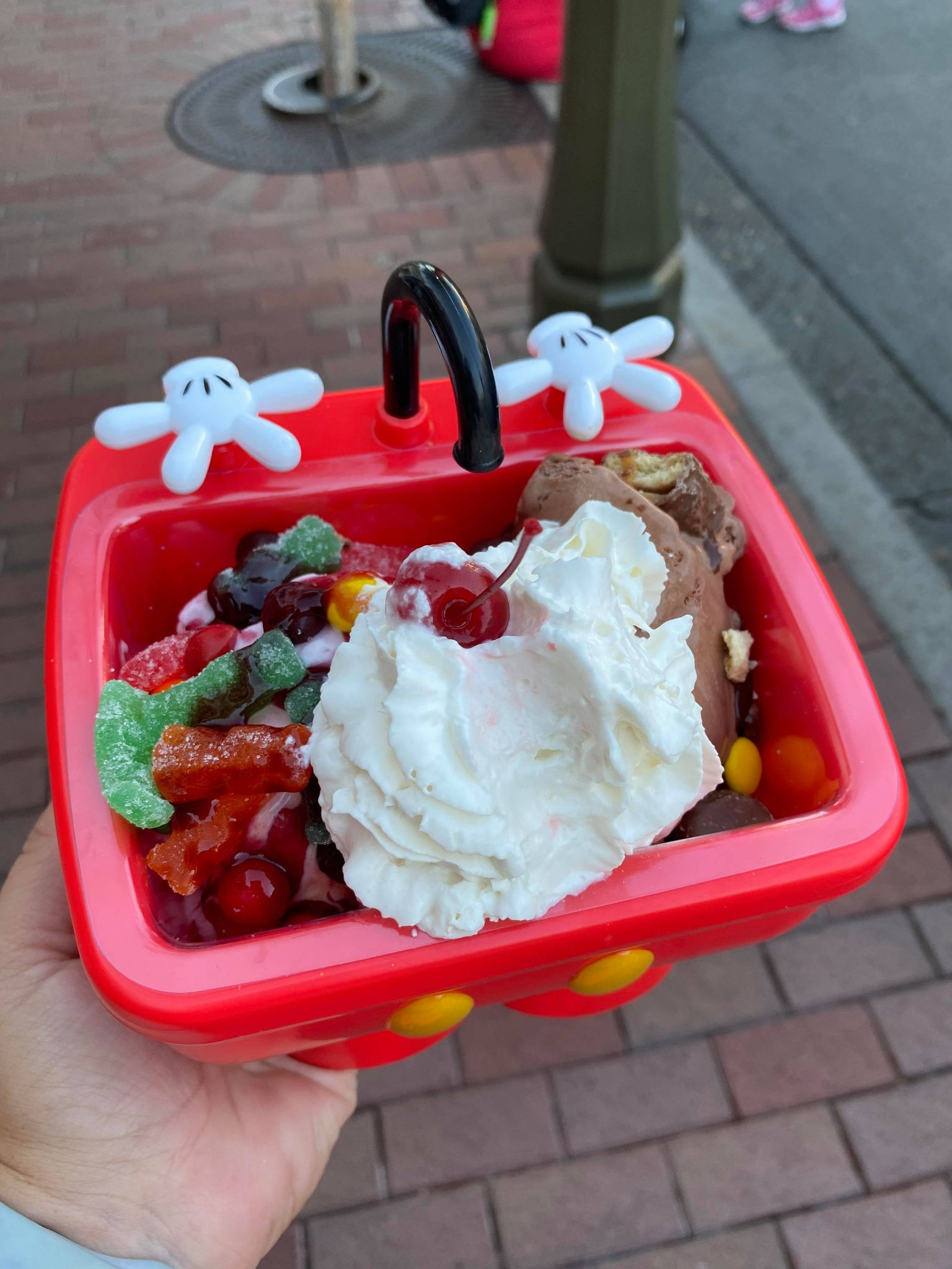 trick or treat sundae in a Mickey sink