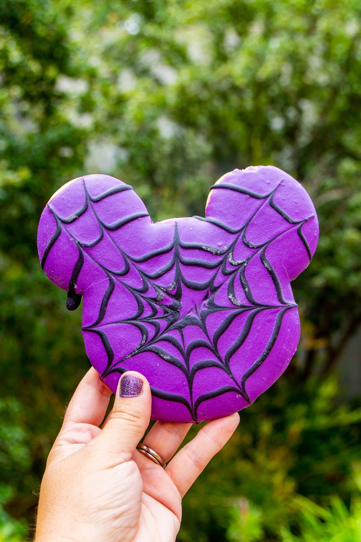 purple Mickey spiderweb sugar cookie
