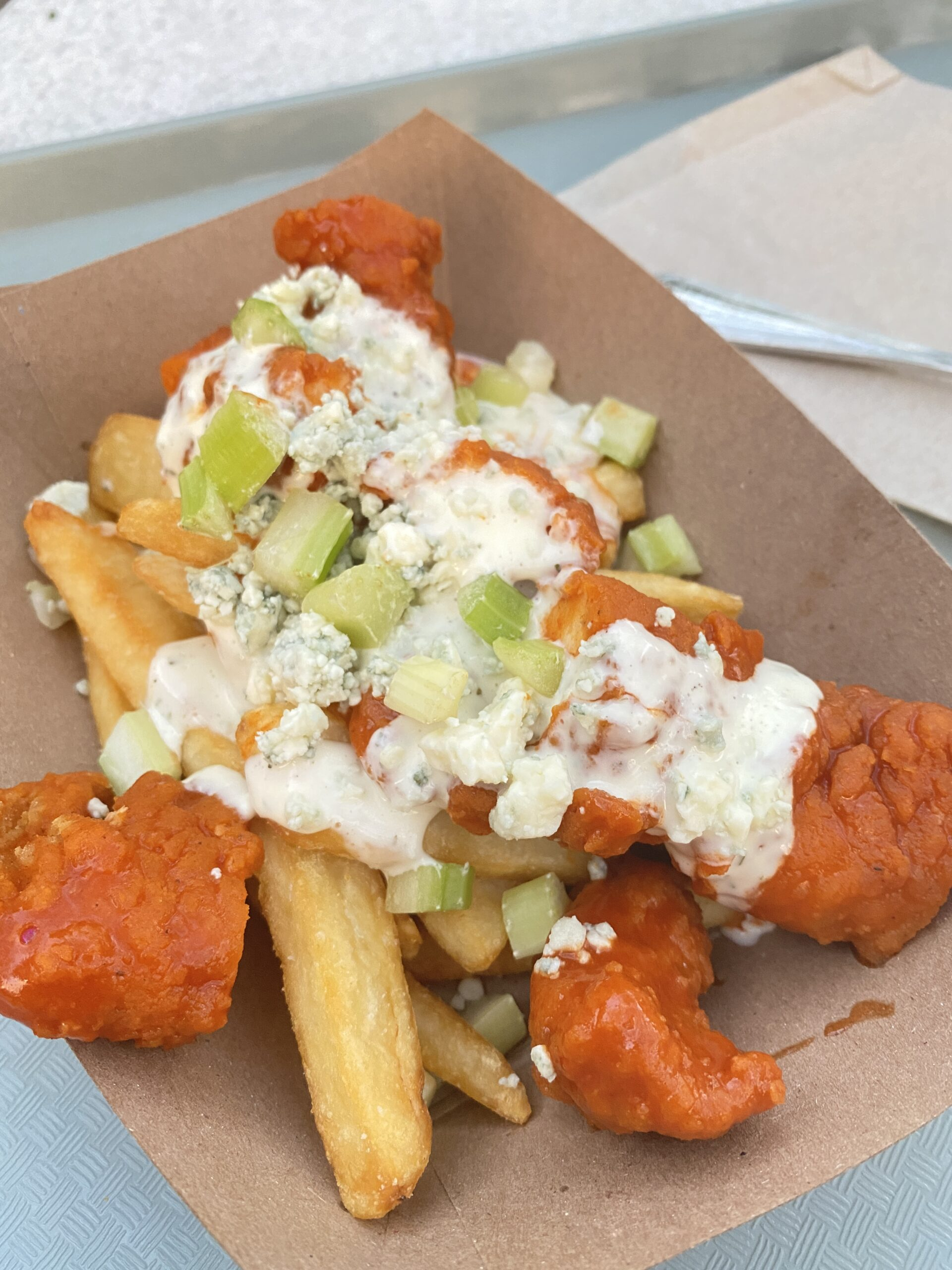 buffalo chicken fries during Oogie Boogie bash