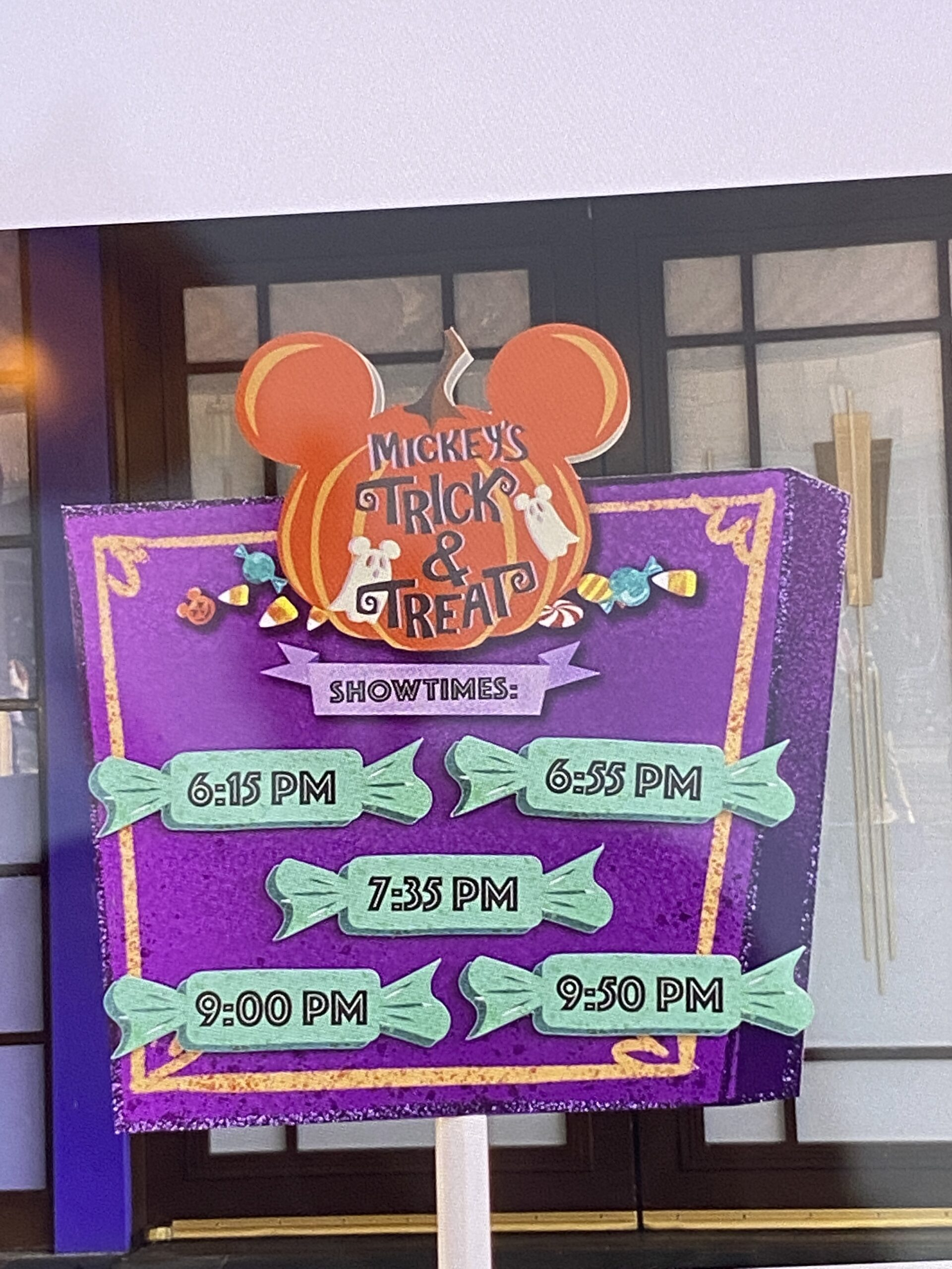 showtimes for Mickey's Trick and Treat Show