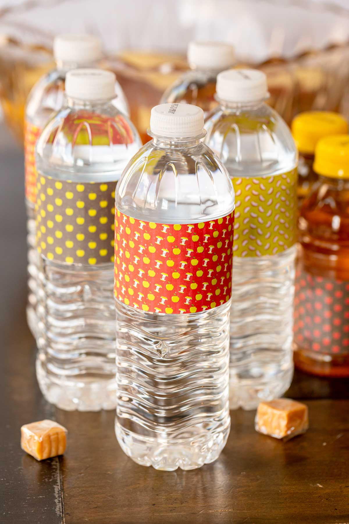 water bottles with apple printables