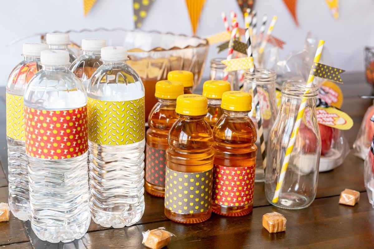 Apple printable labels on bottles
