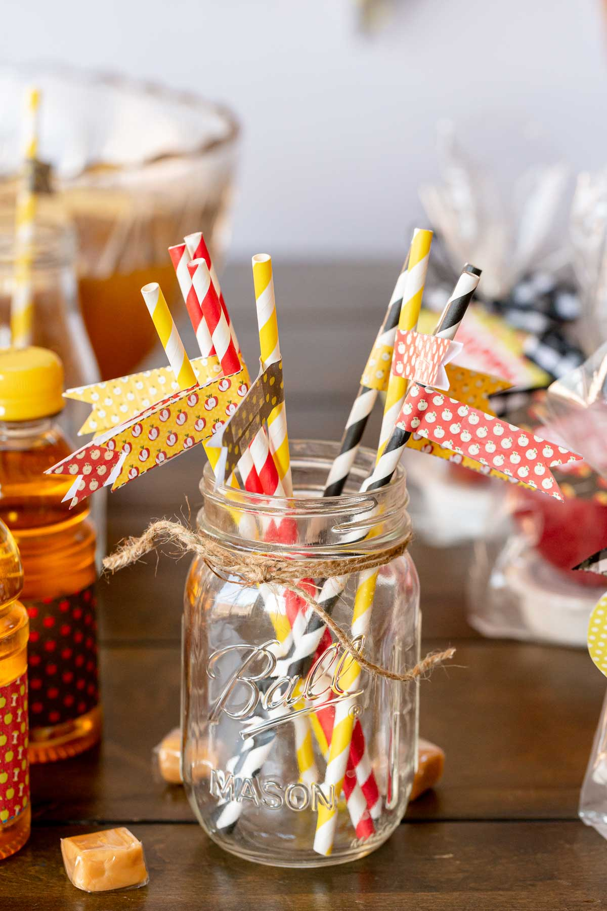 fall colored straws with flags