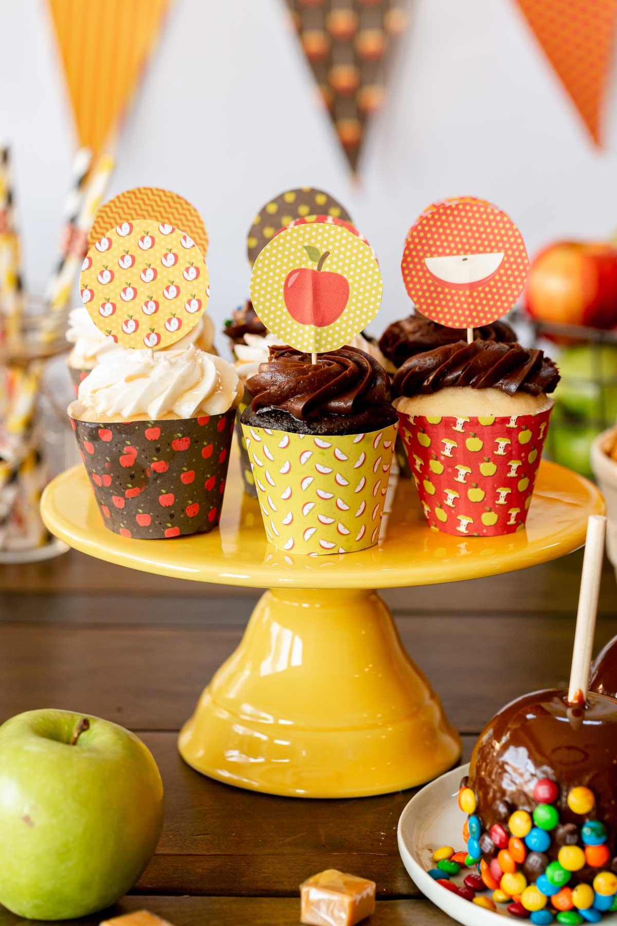 apple printable cupcake toppers
