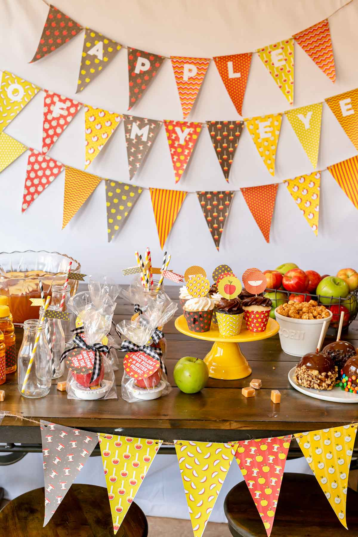 Party setup with apple printable pack in use