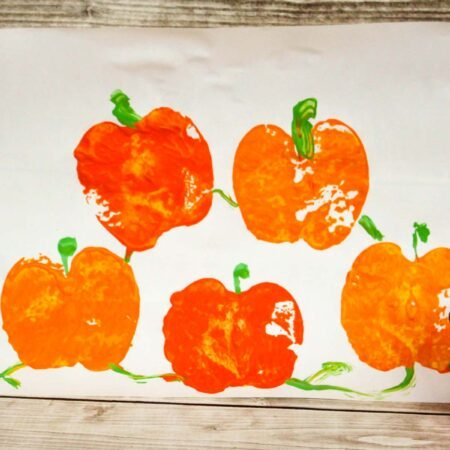 painted pumpkin patch on paper