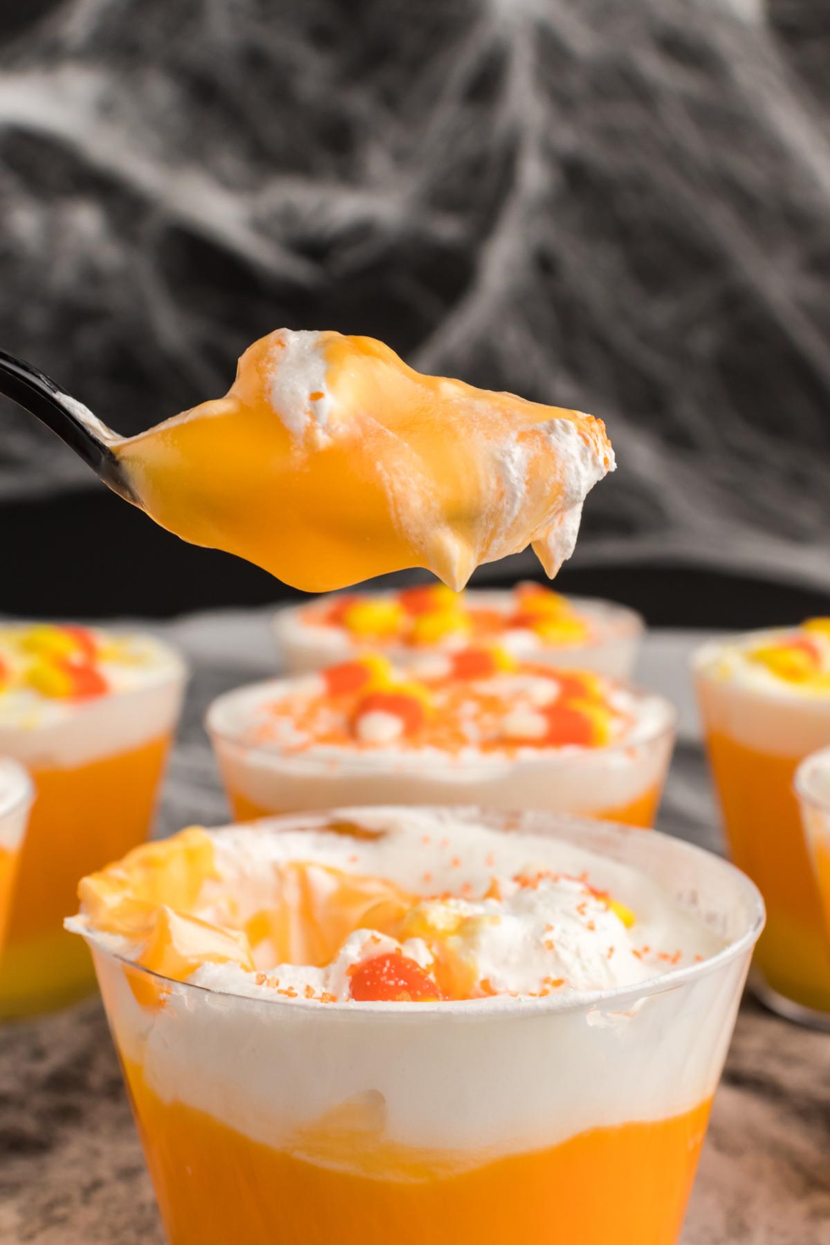 spoon full of orange pudding