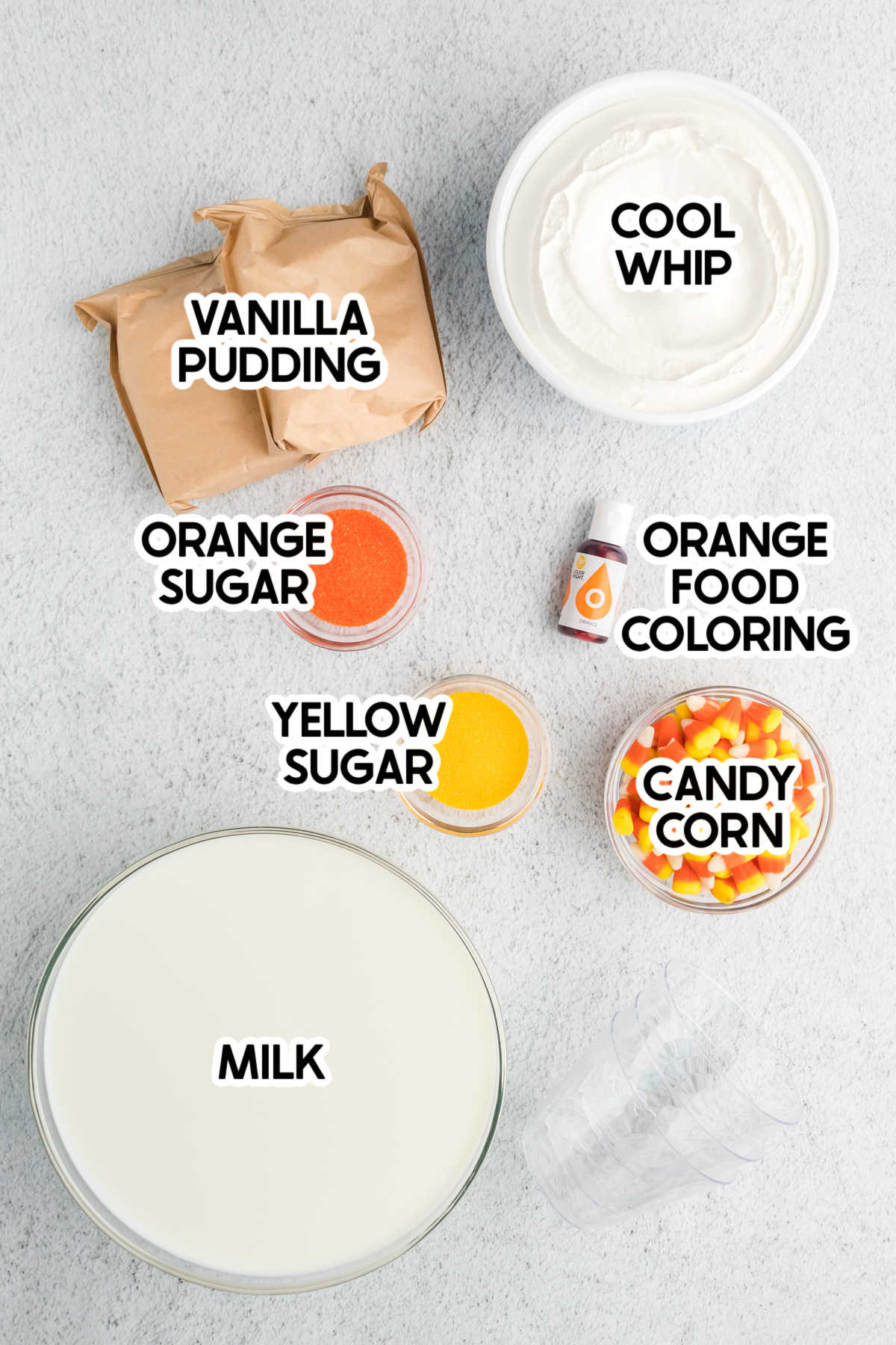 ingredients for candy corn pudding cups