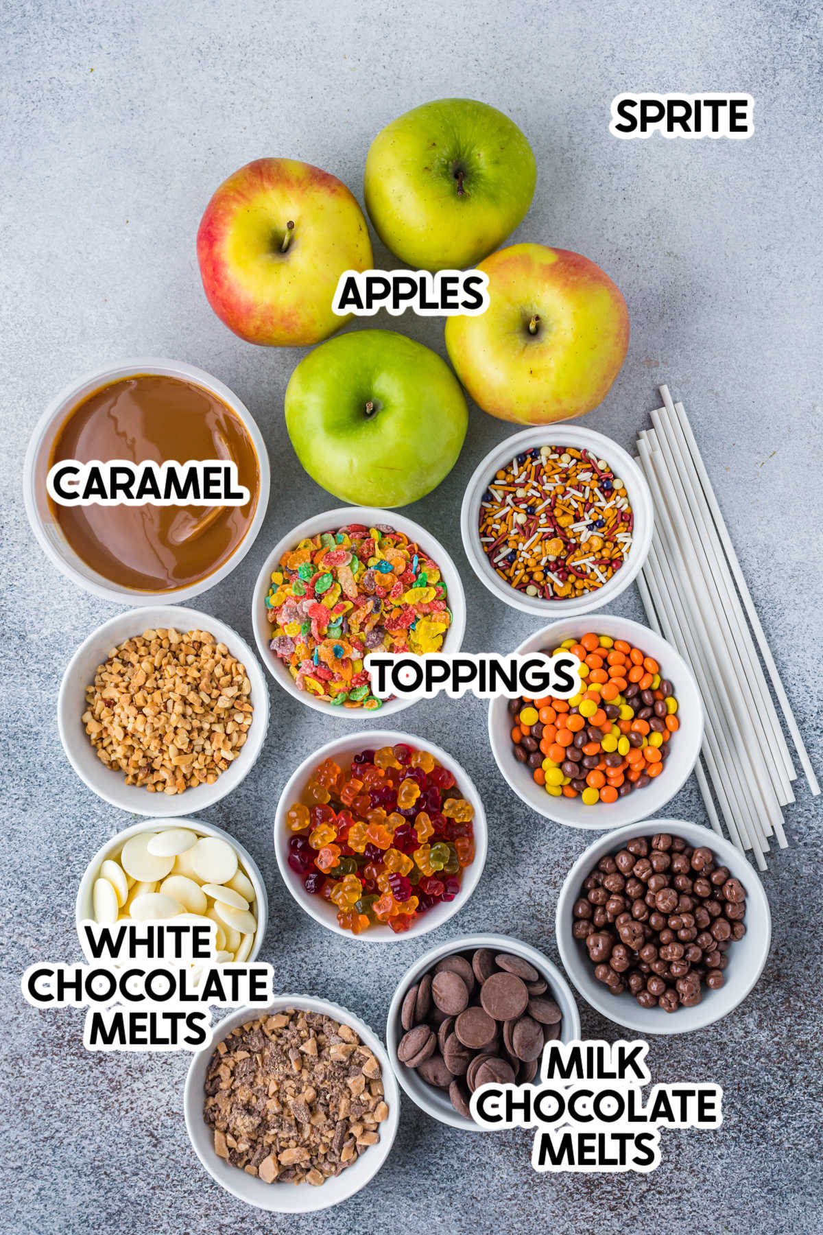 caramel apple board ingredients with labels