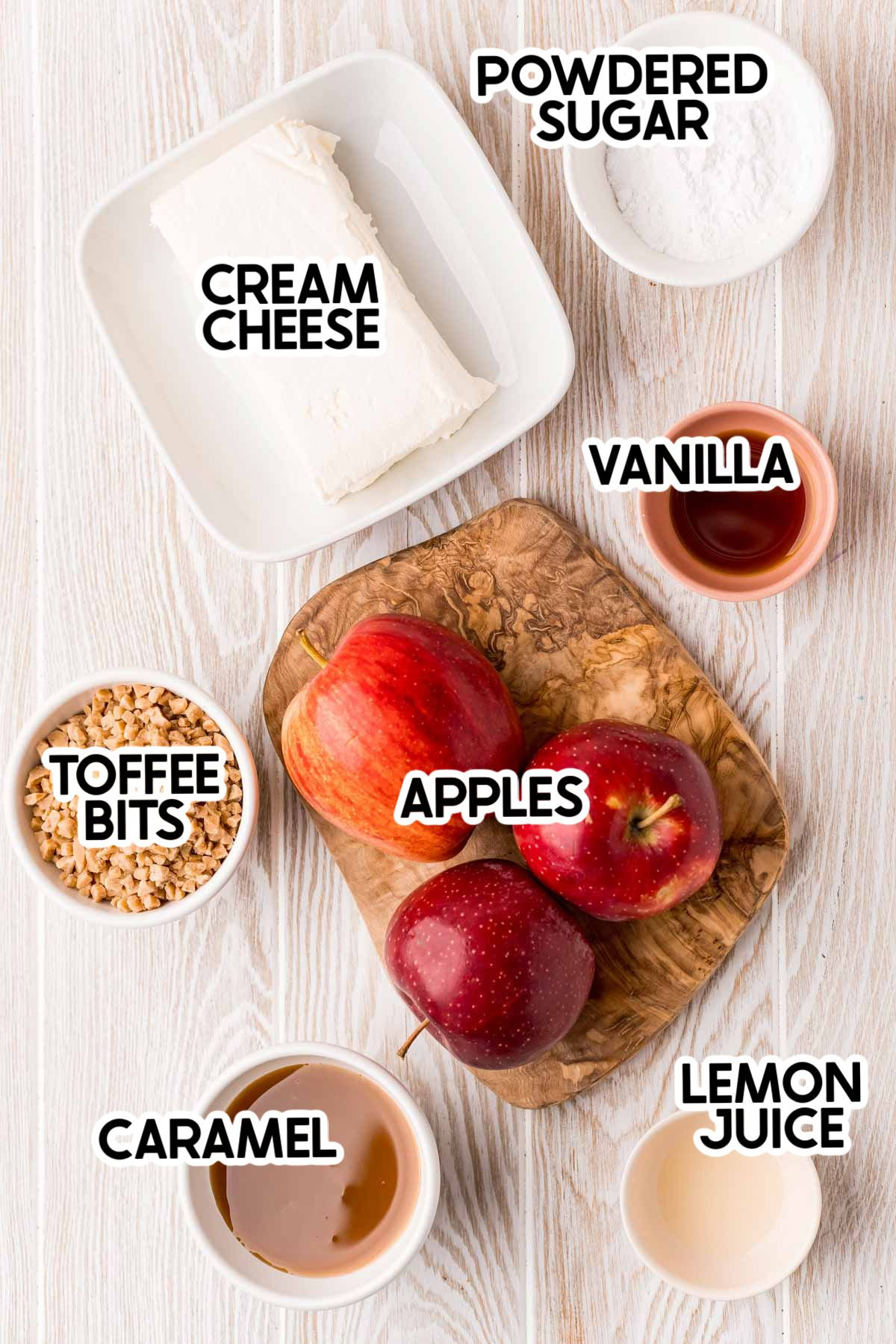 ingredients for a caramel apple dip with labels