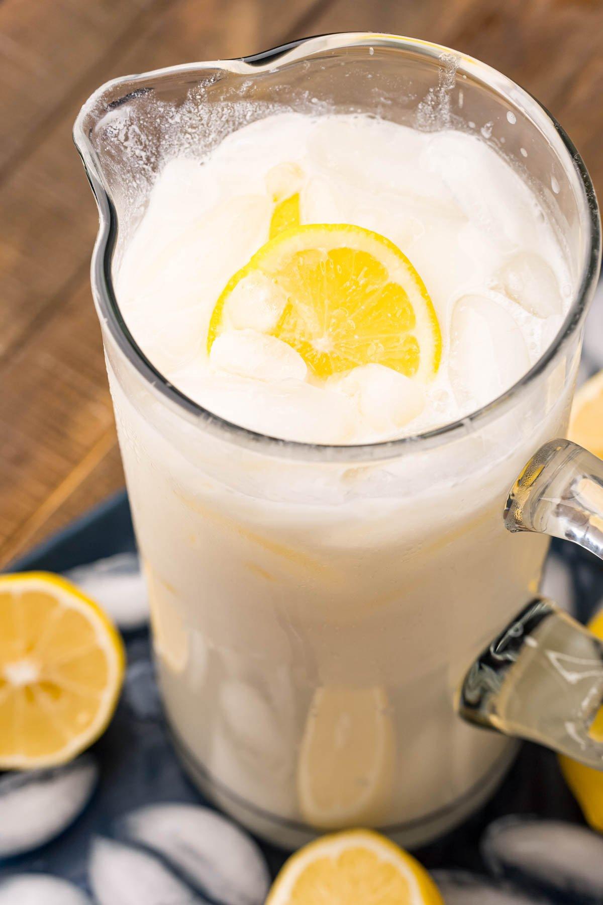 pitcher of creamy lemonade