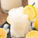 Glass of creamy lemonade with a lemon slice garnish