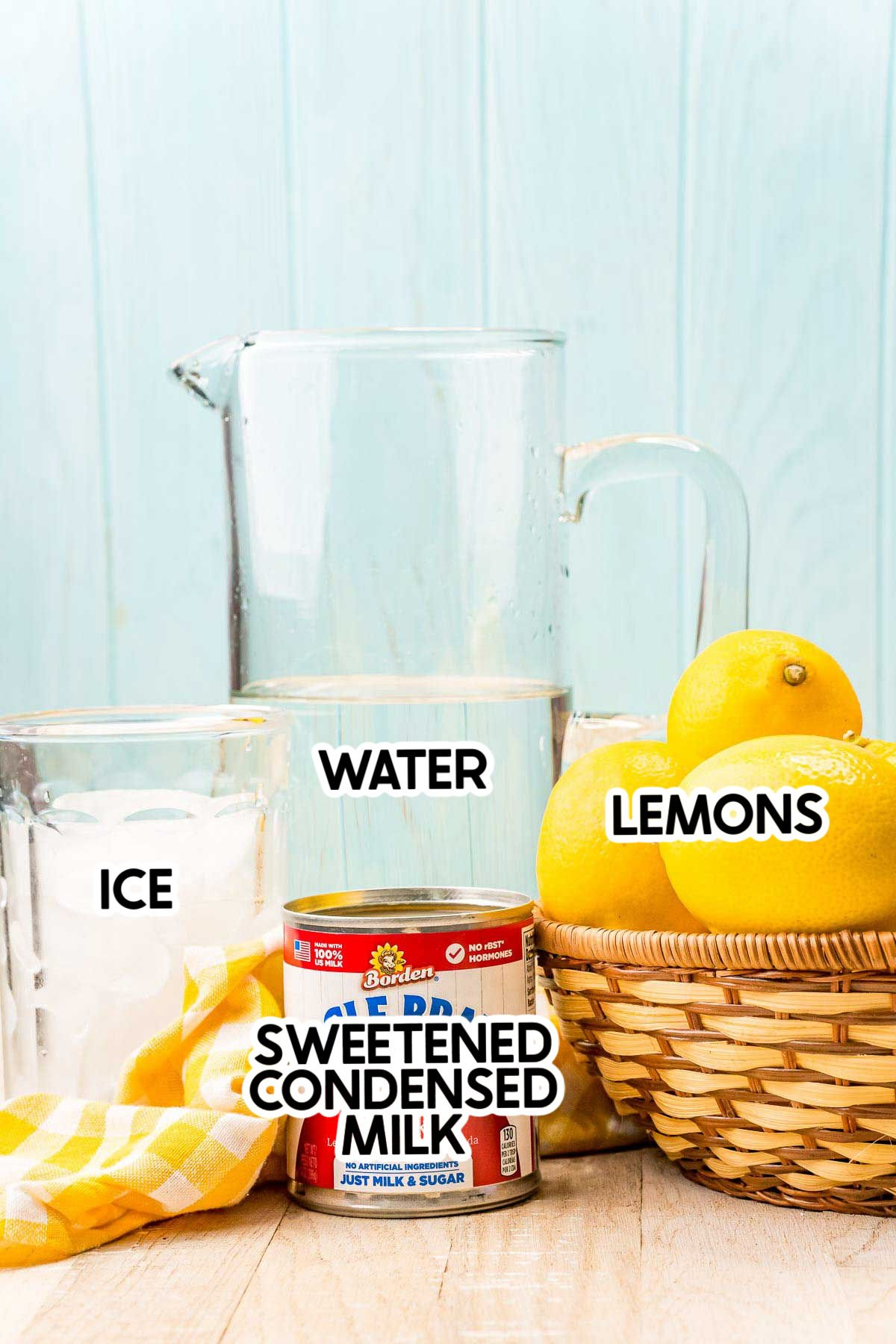 ingredients for creamy lemonade with labels