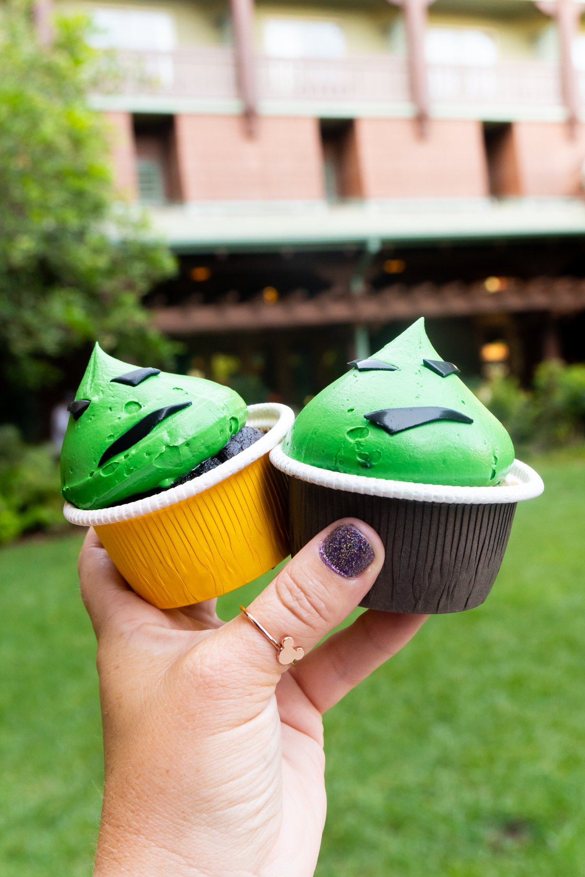 hand holding two Oogie Boogie cupcakes