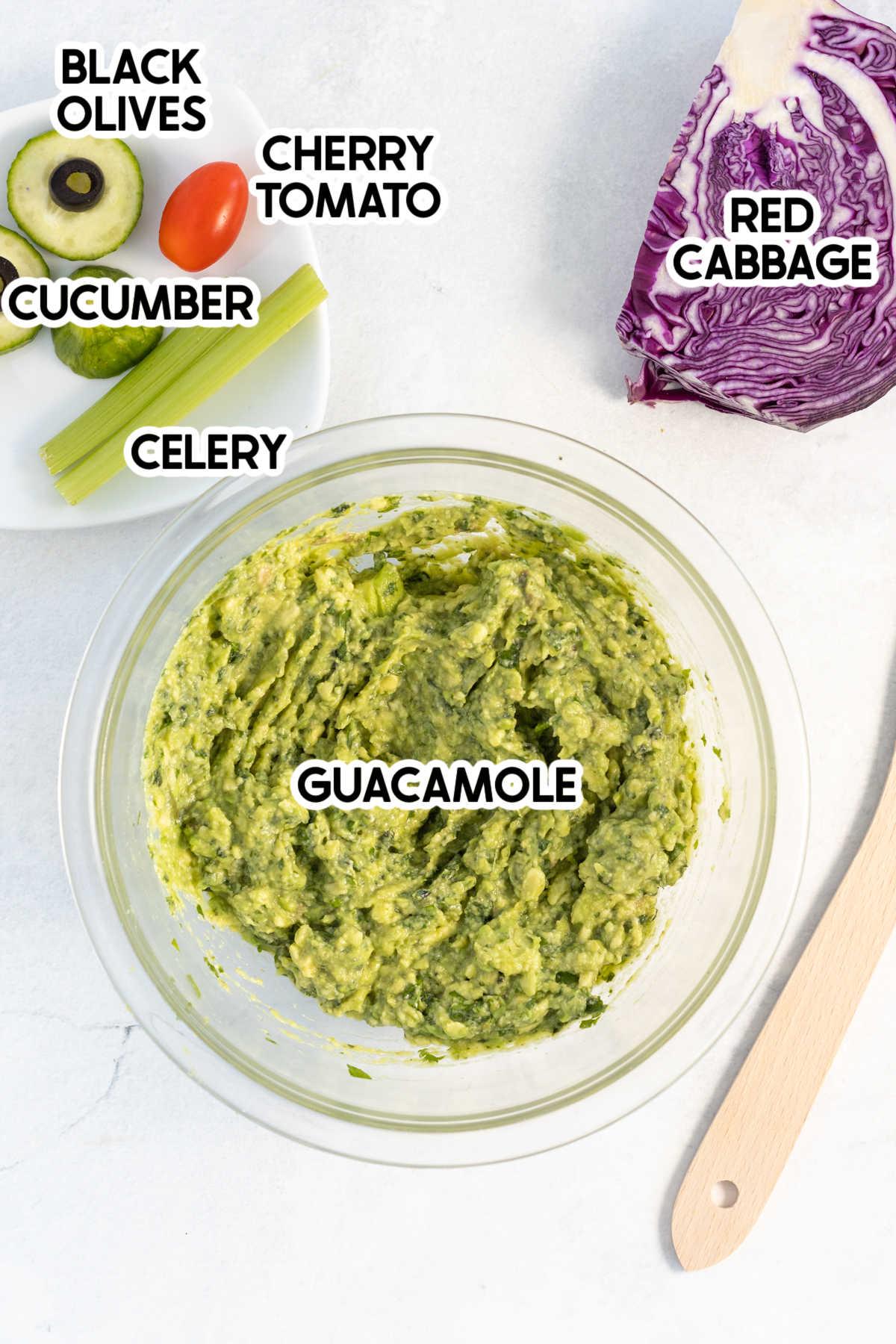 Frankenstein guacamole ingredients with labels