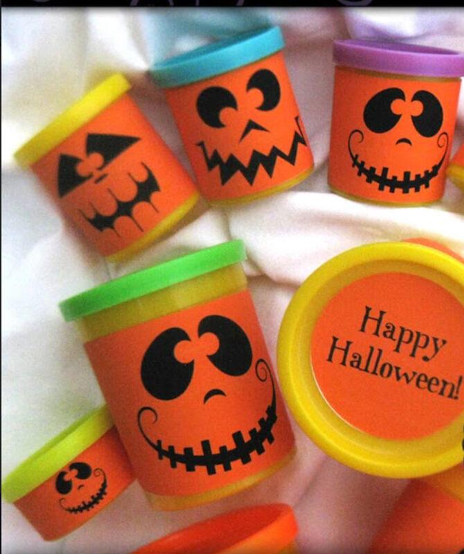 pumpkin play-doh for Halloween