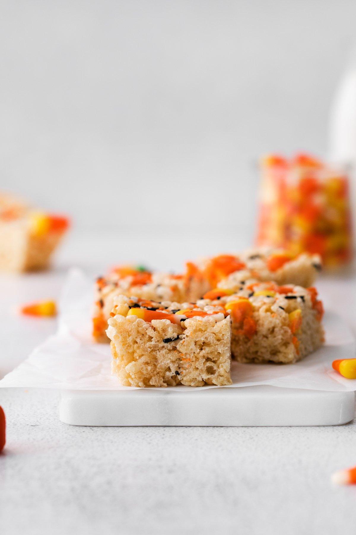 cutting board with Halloween rice krispies on top