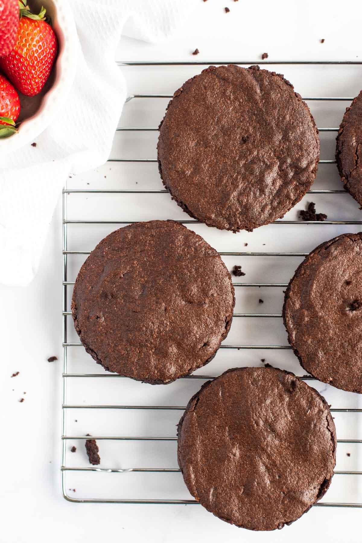four homemade brownies cut into circles