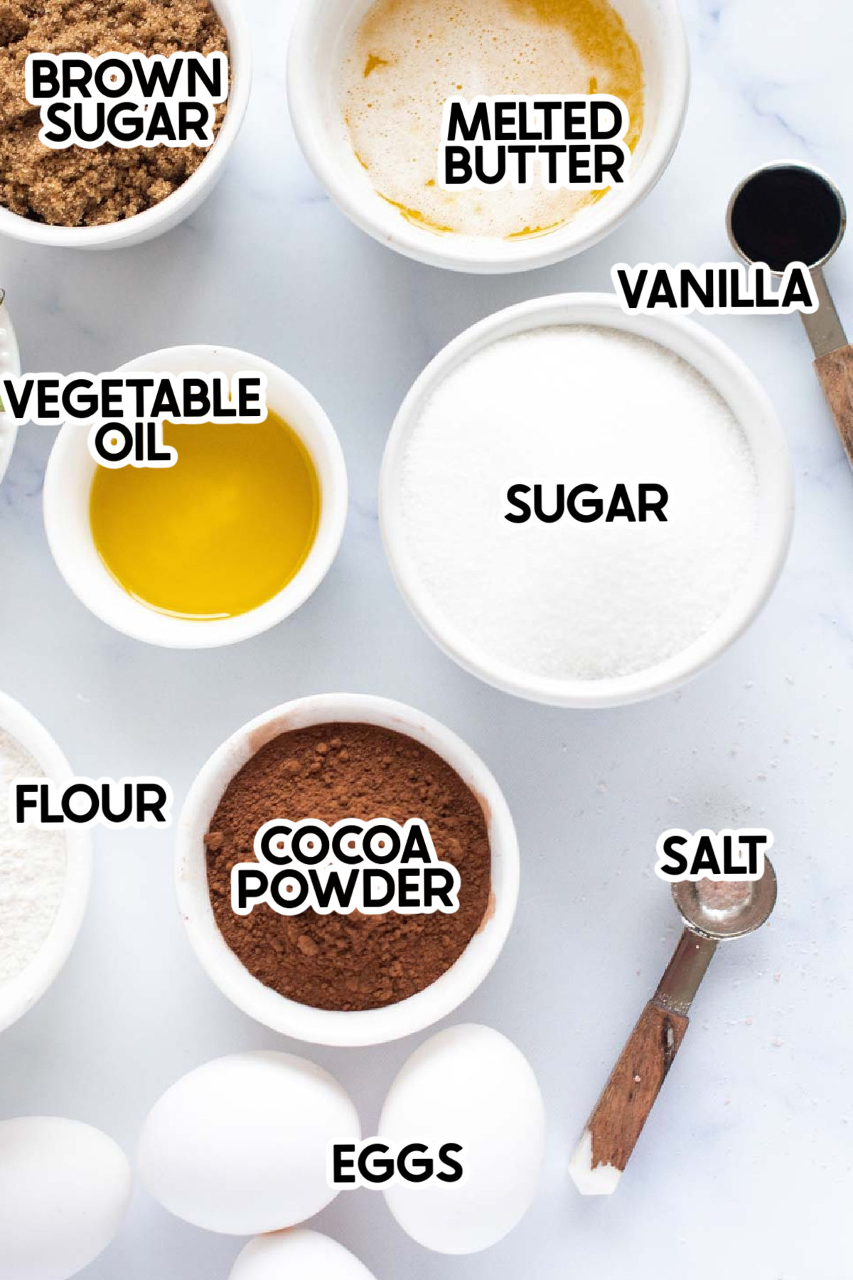 ingredients for homemade brownies with labels