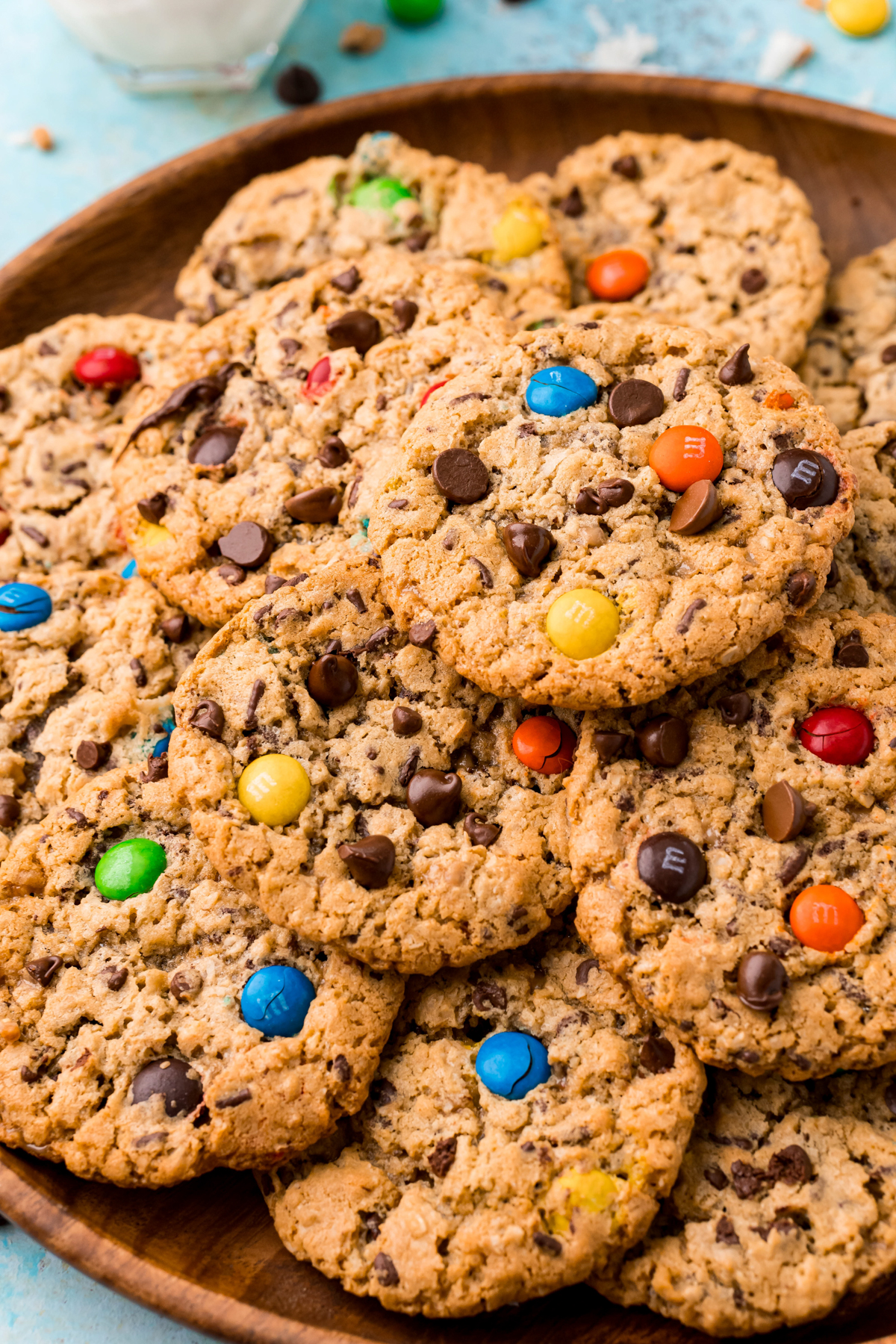 pile of monster cookies on a plate