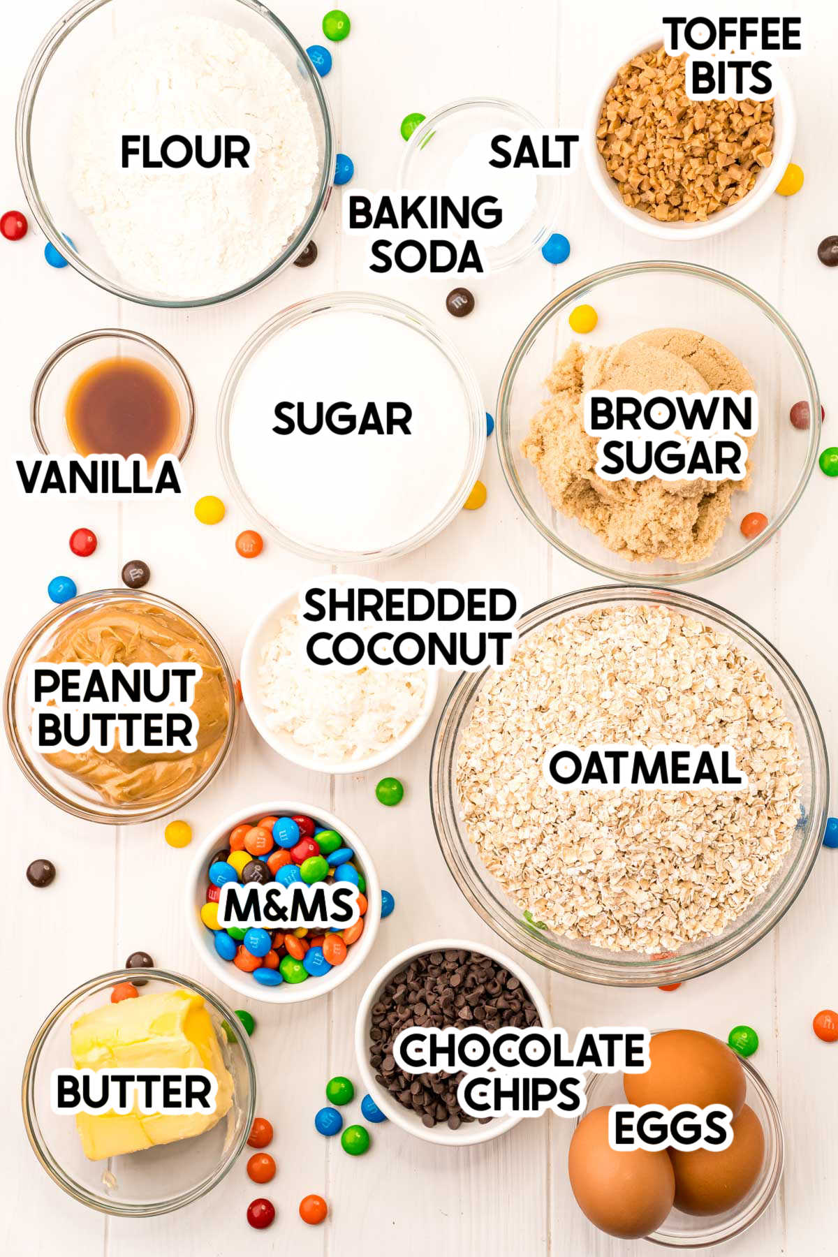 ingredients for monster cookies with labels