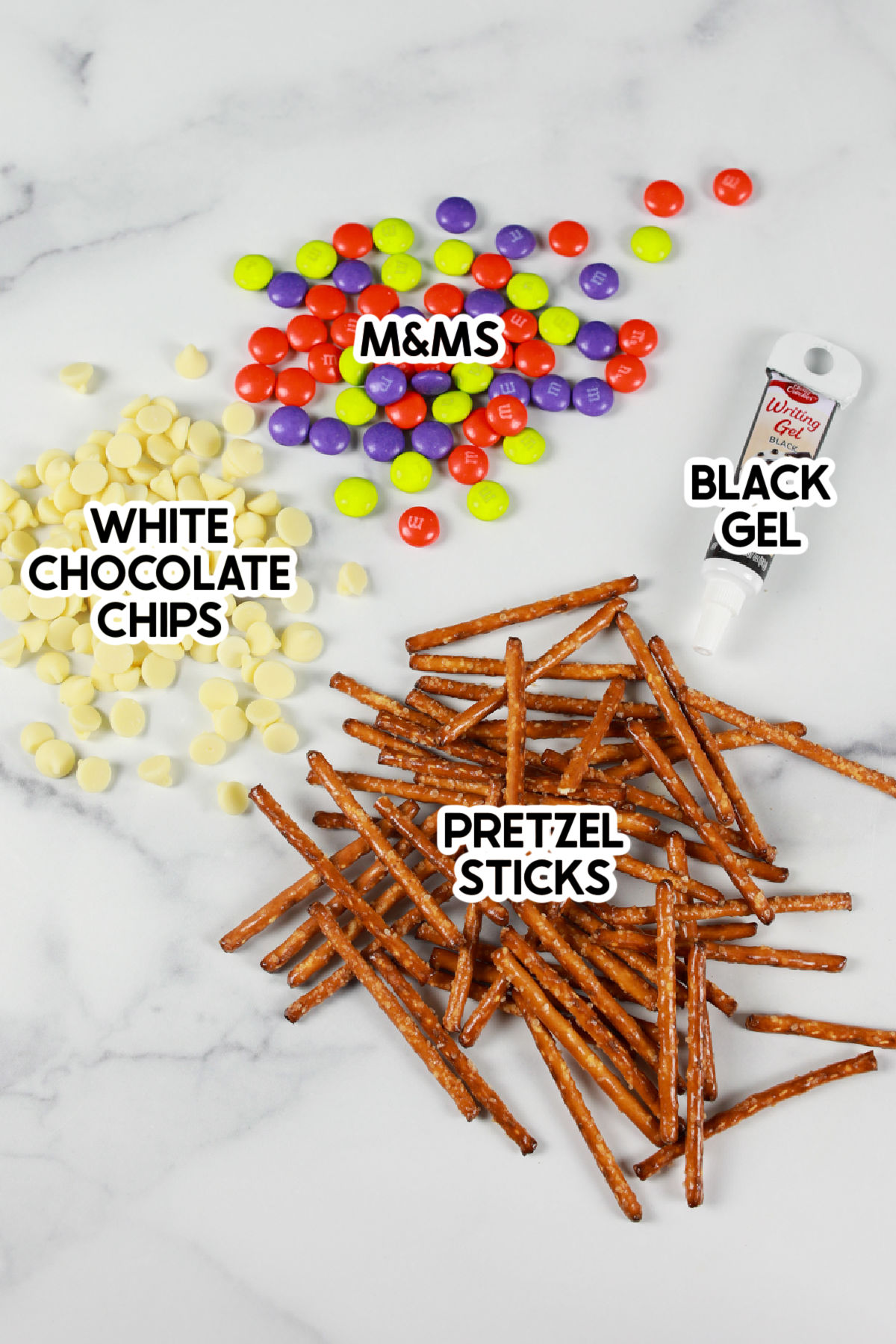 ingredients for pretzel spider webs with labels