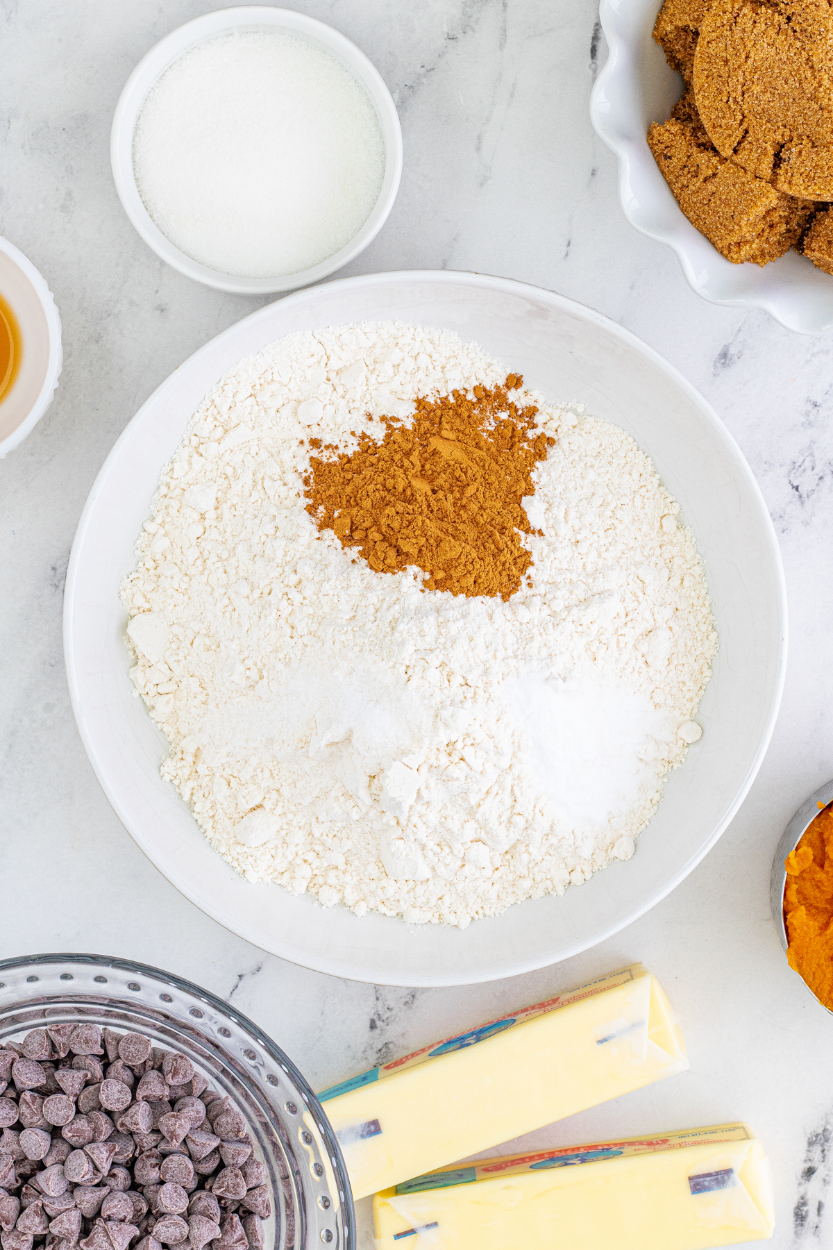 bowl with flour and dry ingredients