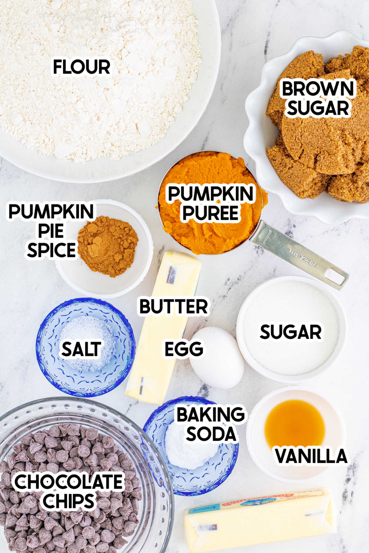 ingredients for pumpkin blondies with labels
