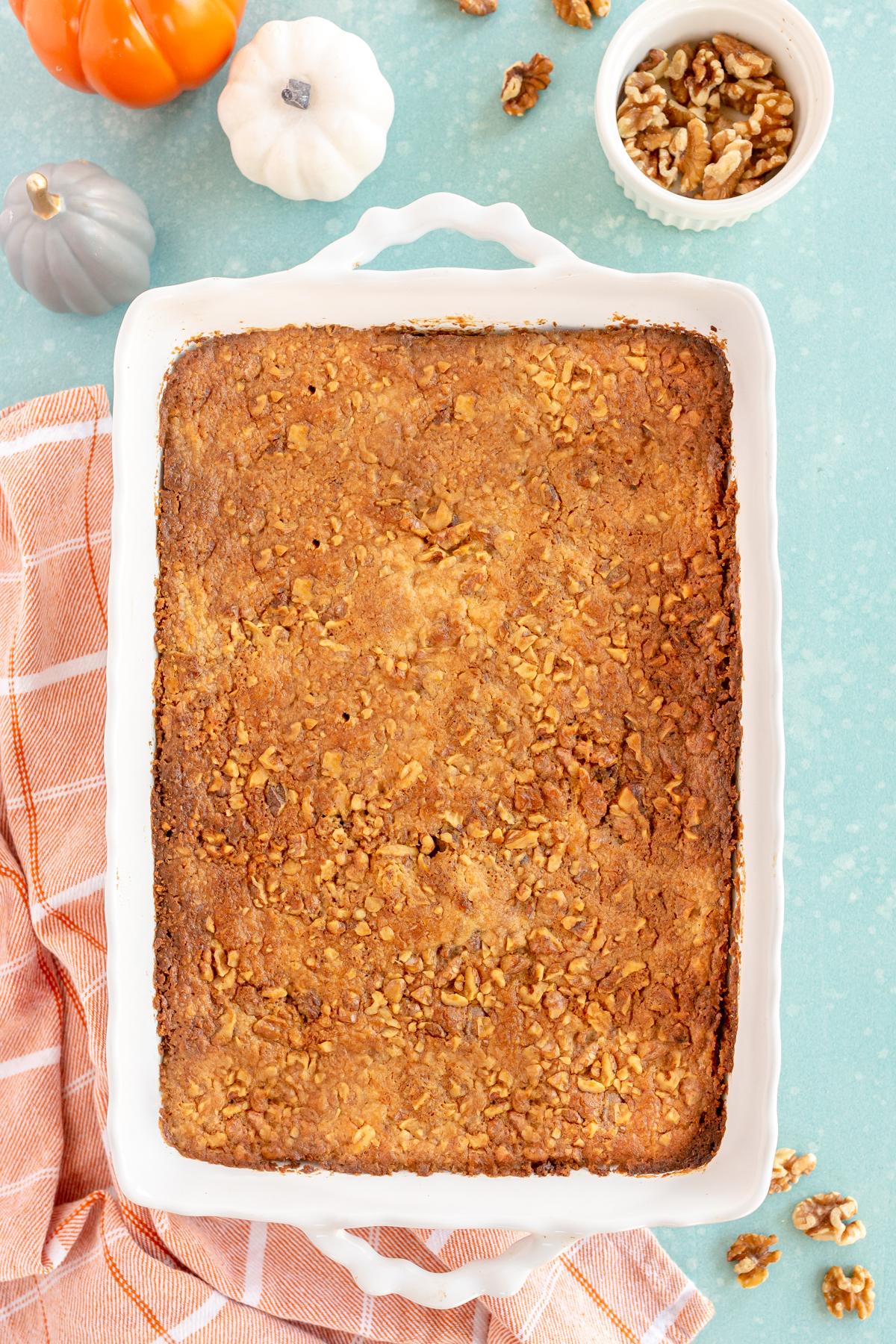 baked pumpkin crunch cake in a pan