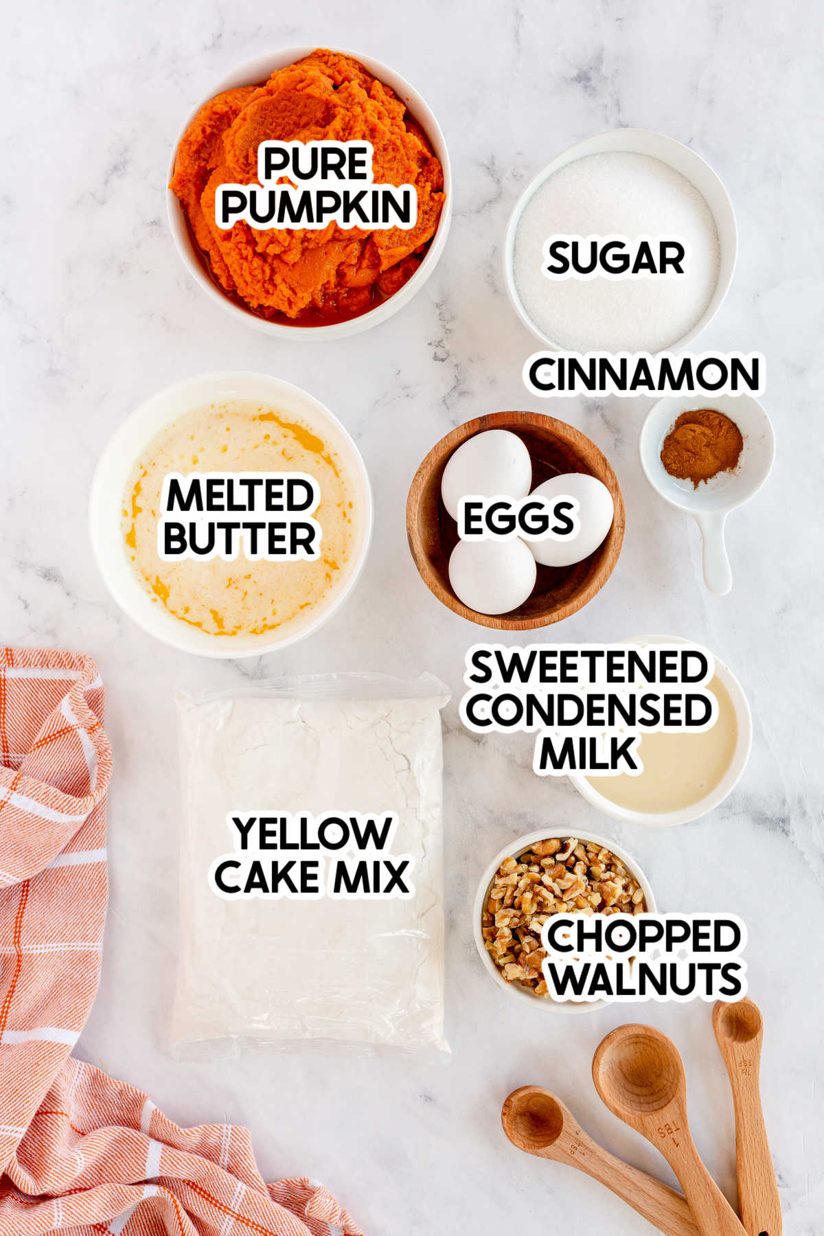 ingredients for pumpkin crunch cake with labels