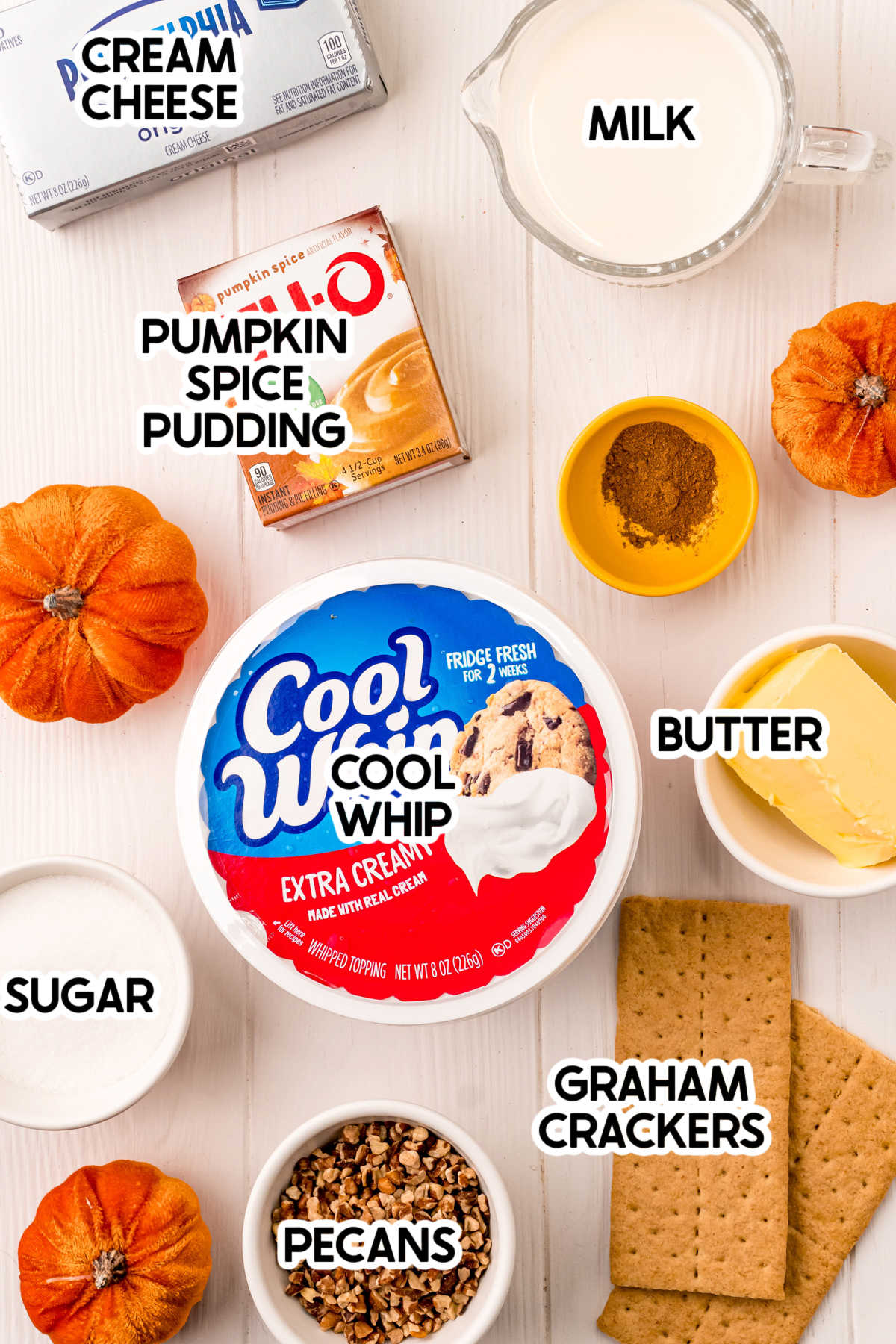 ingredients for pumpkin delight with labels