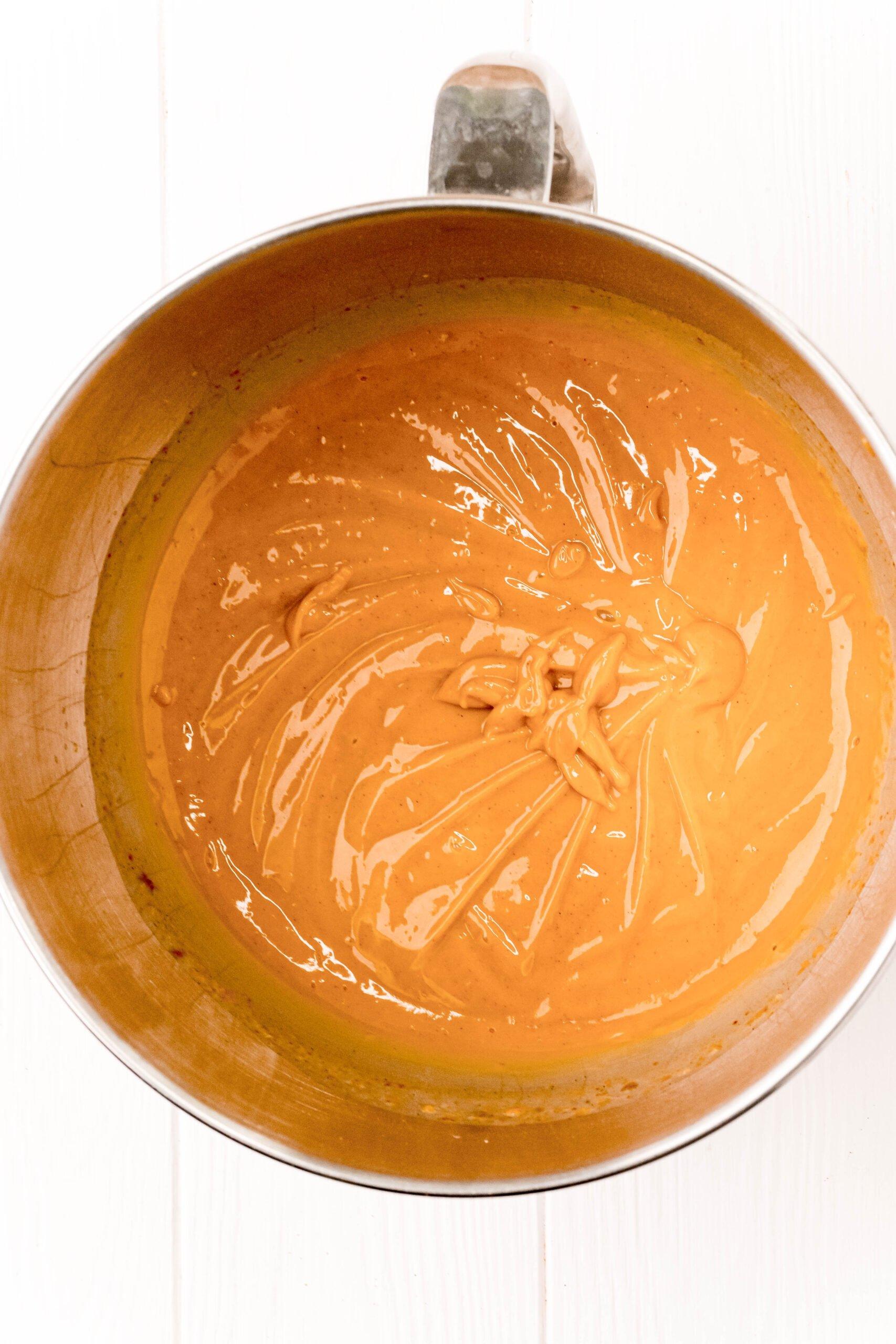 metal bowl with pumpkin pudding