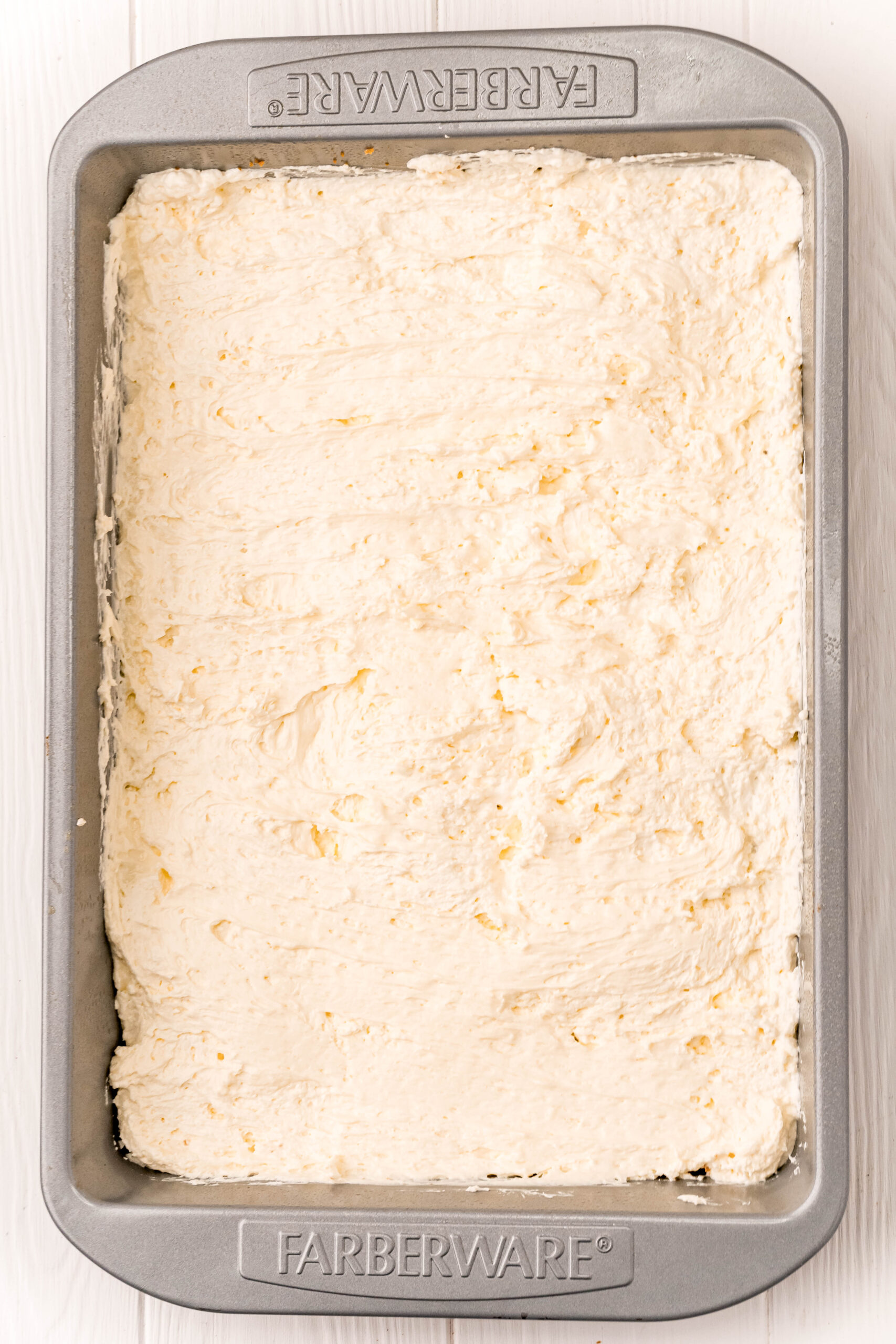 baking pan with cream cheese layer