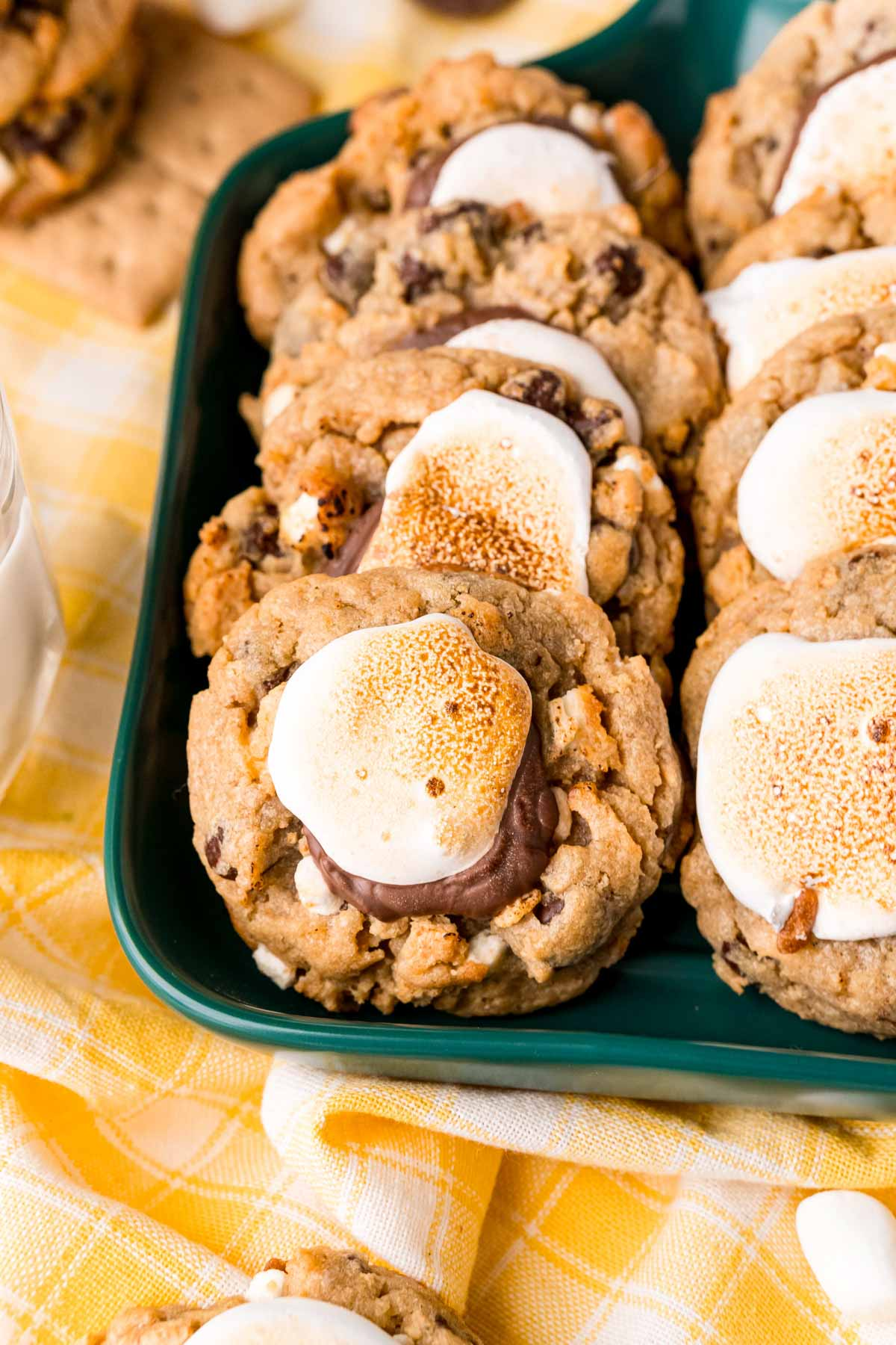 green tray filled with s'mores cookies