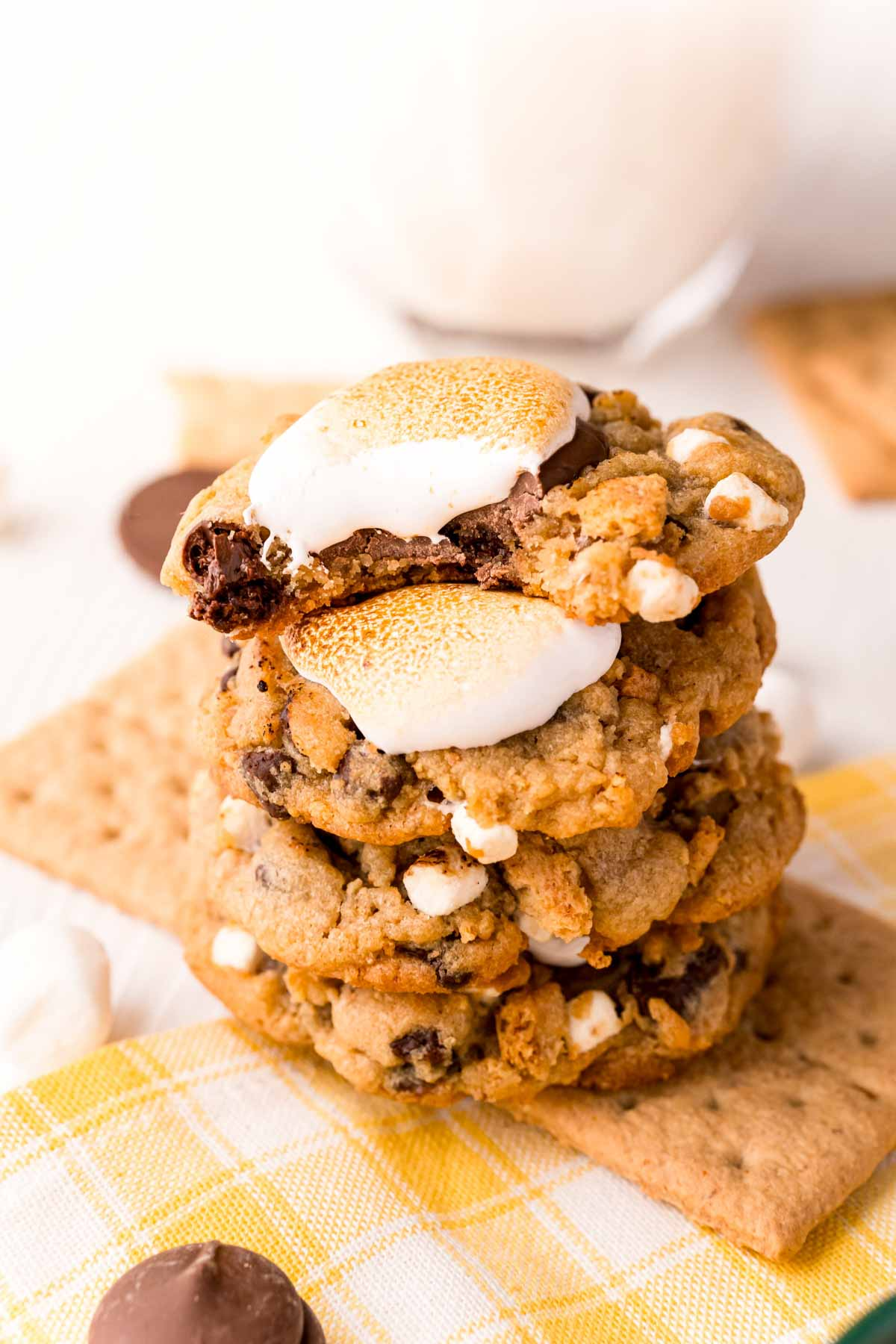 stack full of s'mores cookies