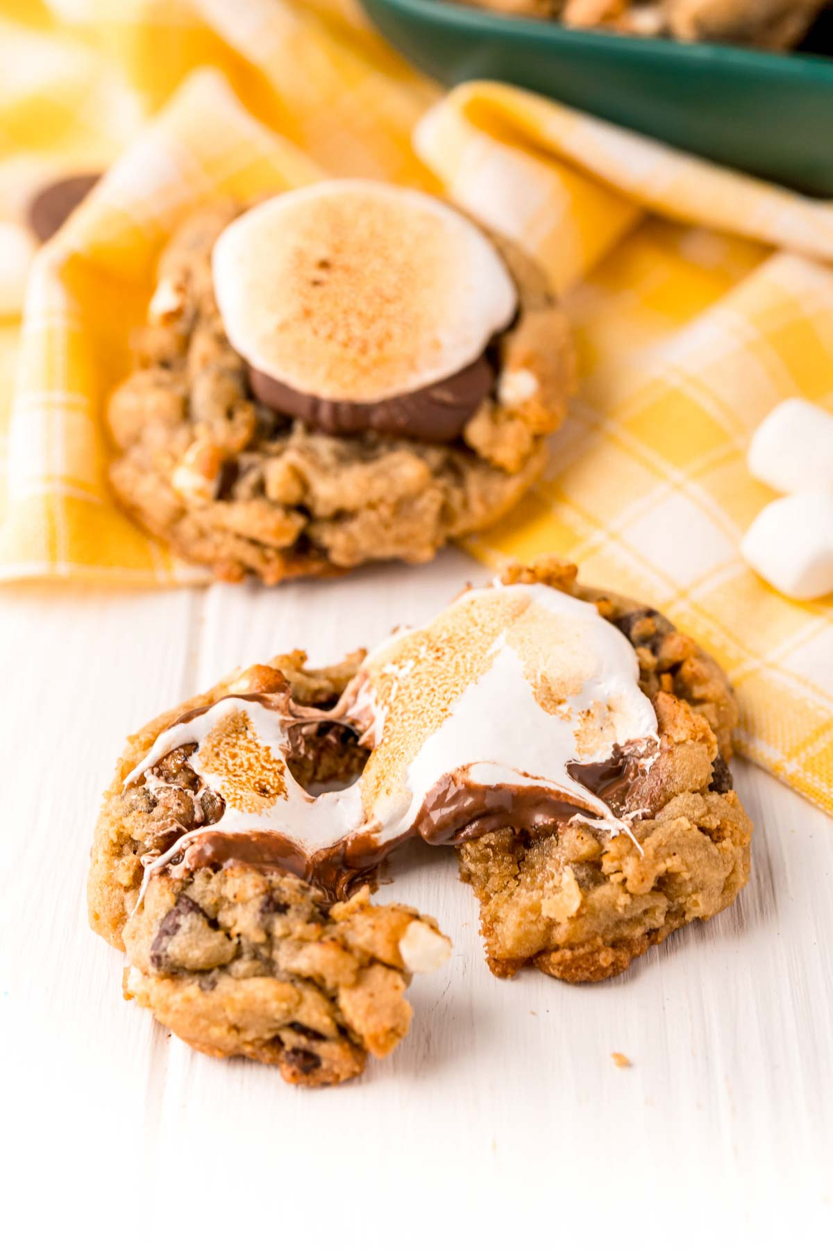 s'mores cookie sitting on a white table
