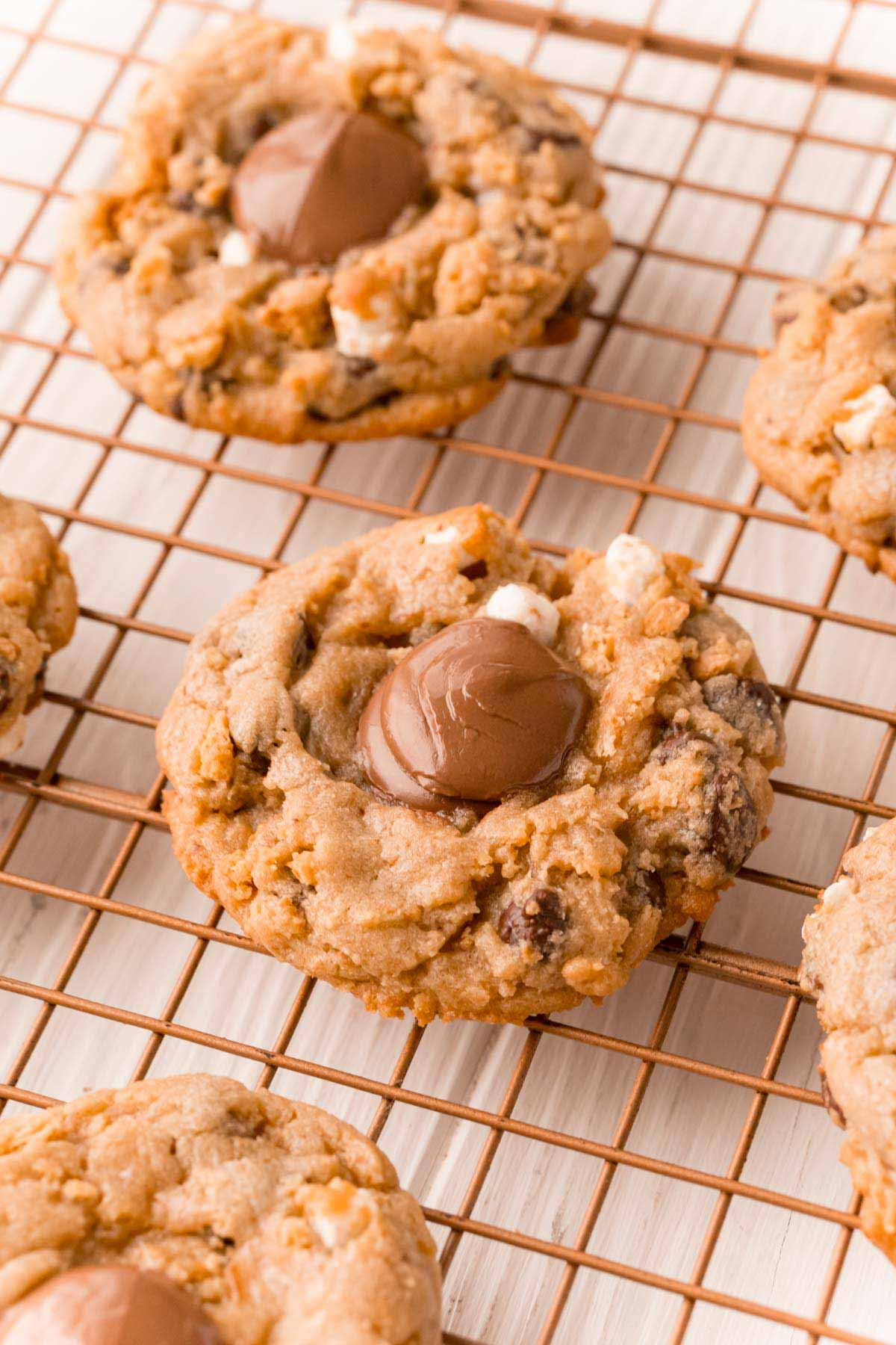 s'more cookies on a cooling rack