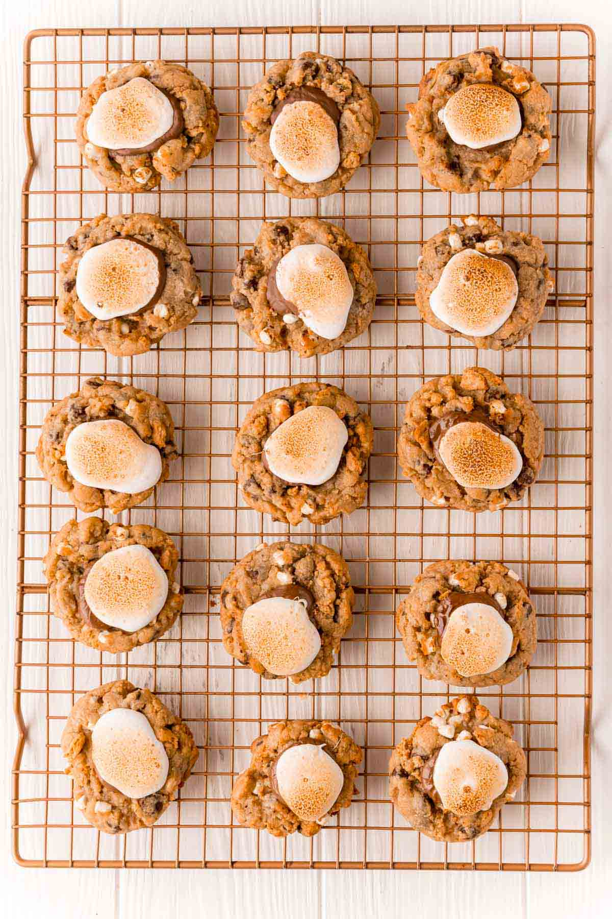 tray of s'more cookies with toasted marshmallow tops