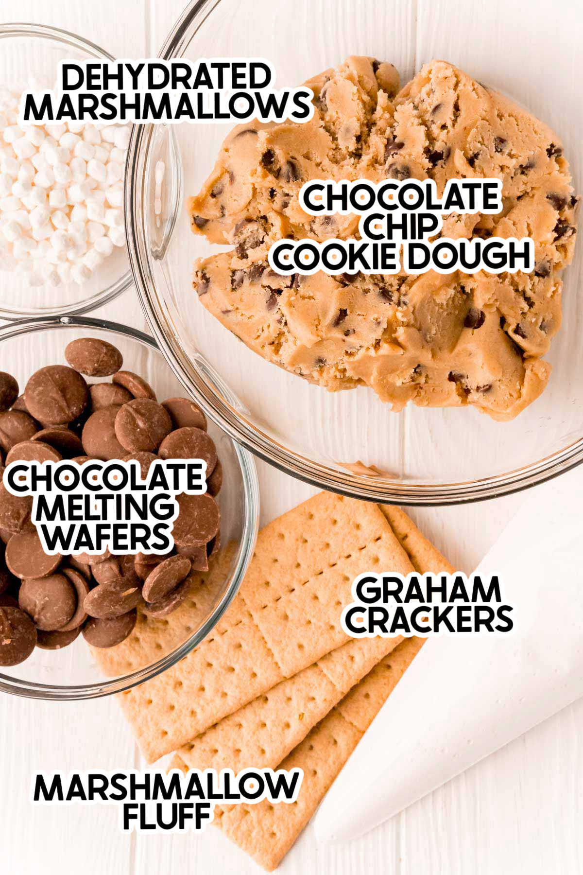 ingredients for s'mores cookies with labels