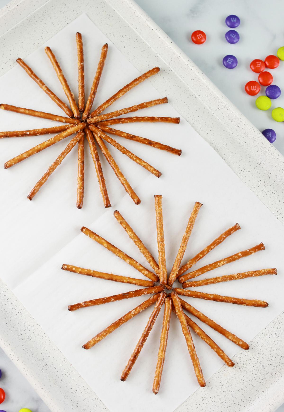 pretzel sticks in spiral fashion