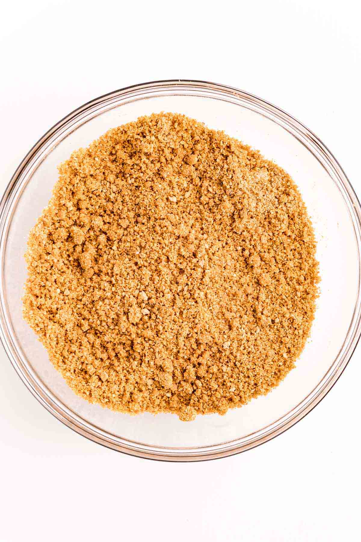 glass bowl with graham cracker crumbs