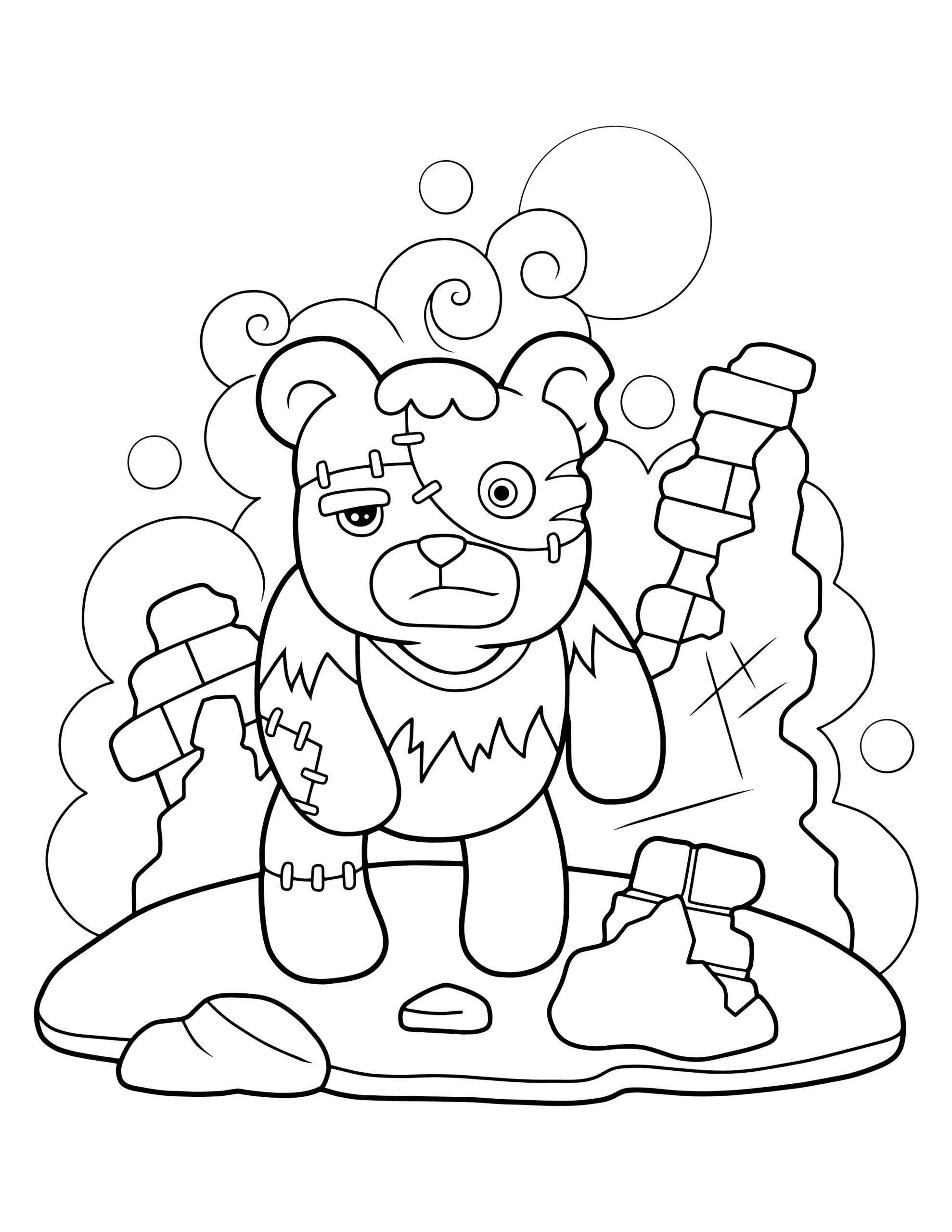 Frankenstein bear coloring page