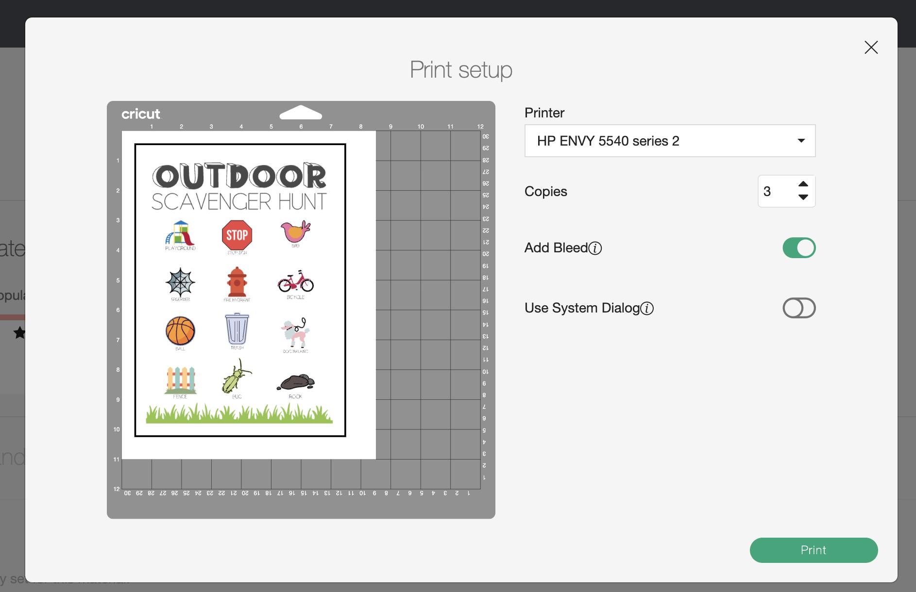 screenshot of the print screen in Cricut Design Space