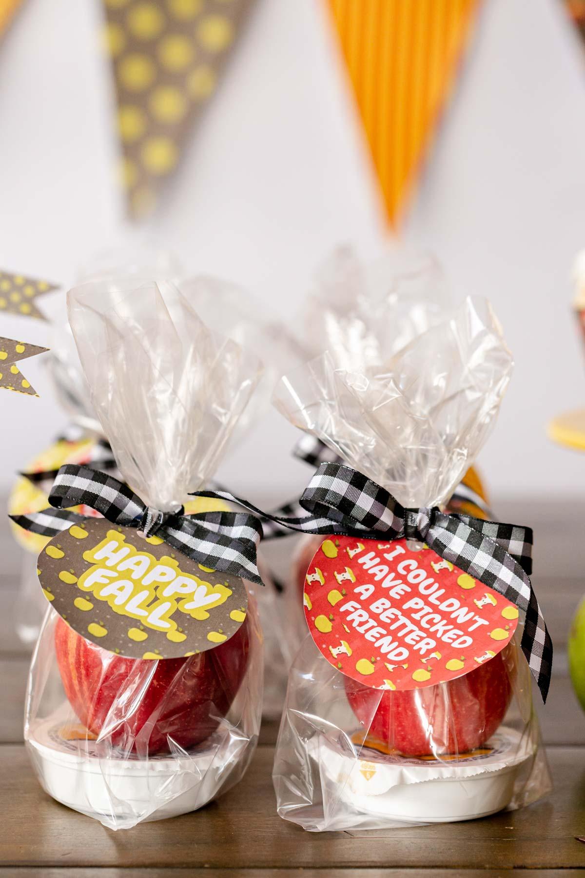 caramel apple favors in bags