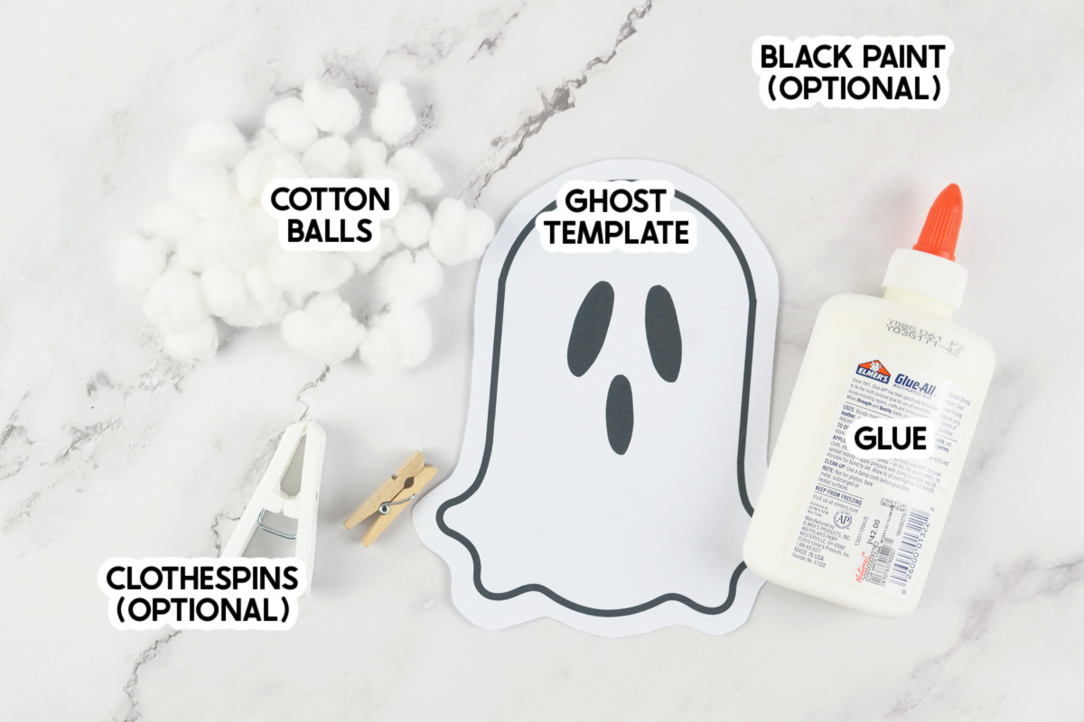 supplies for a ghost craft with labels