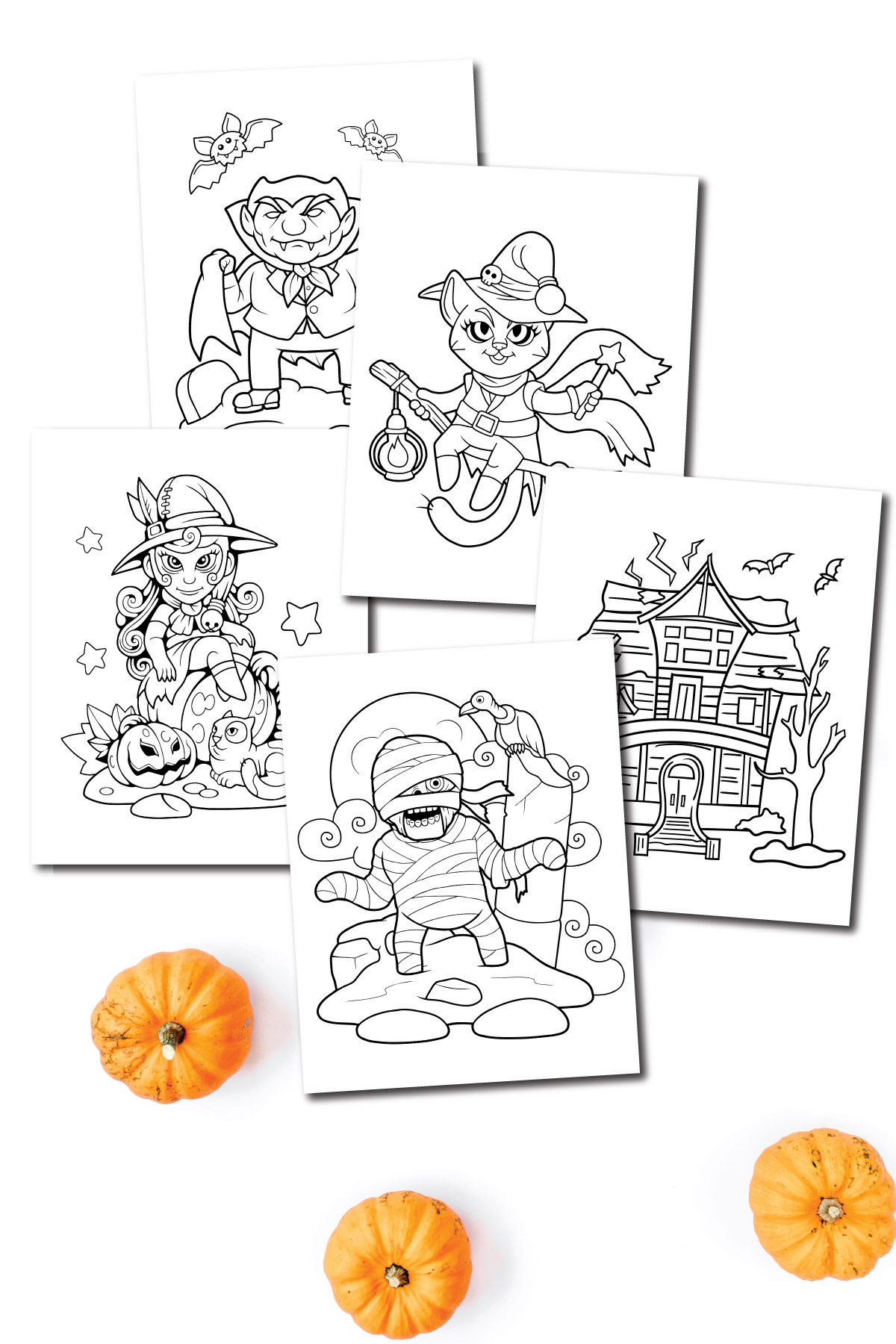 Halloween coloring pages stacked on top of each other