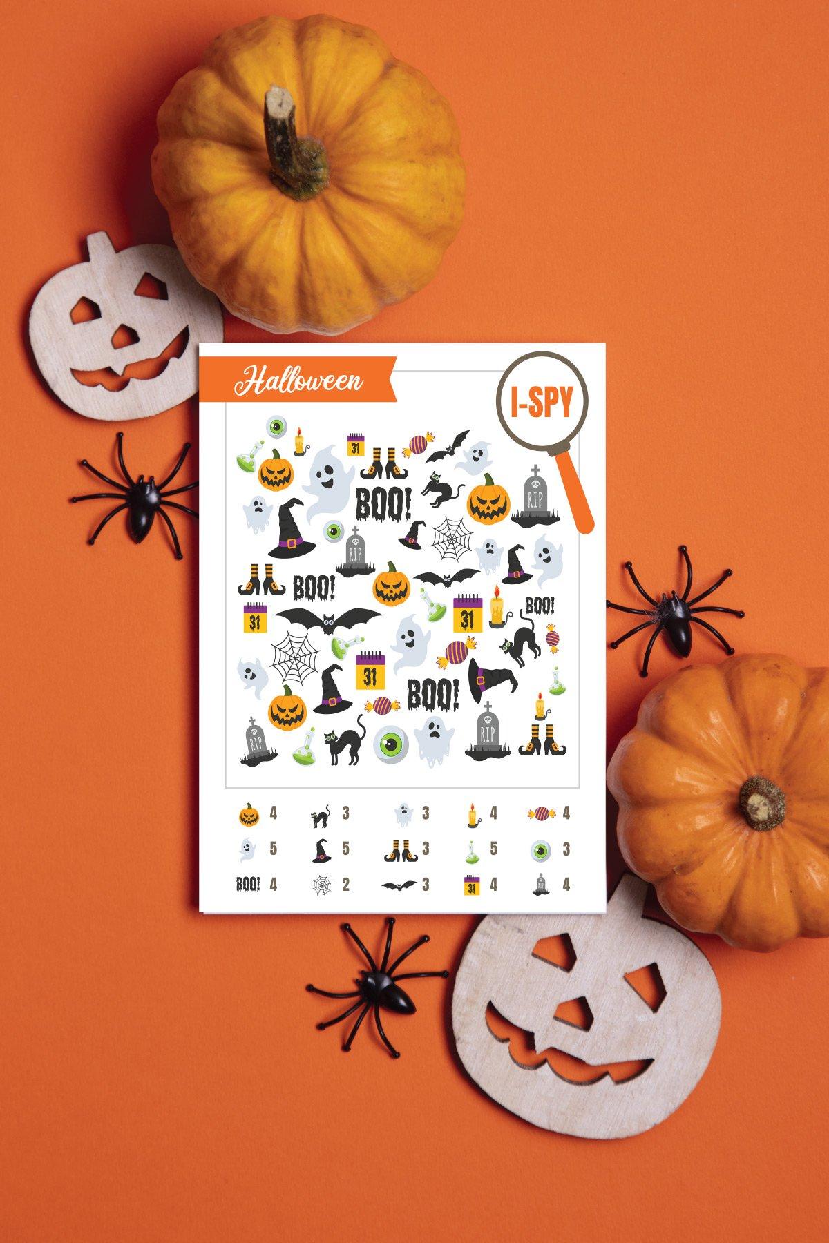 Halloween i spy on an orange background